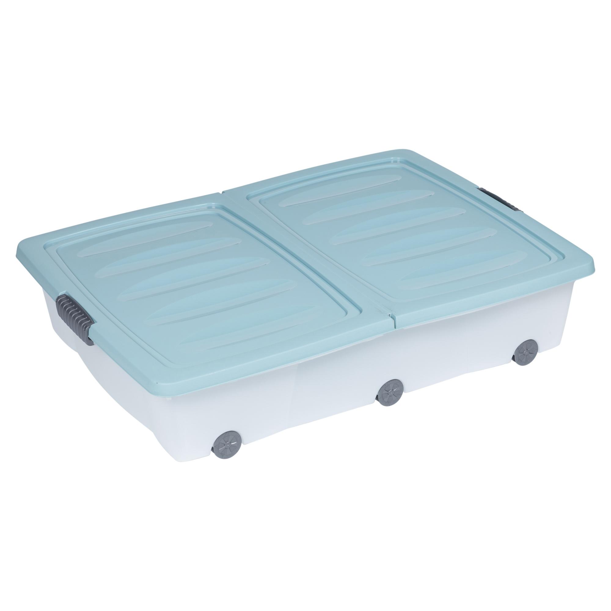 2x large coloured 70l under bed storage plastic box chest. Black Bedroom Furniture Sets. Home Design Ideas