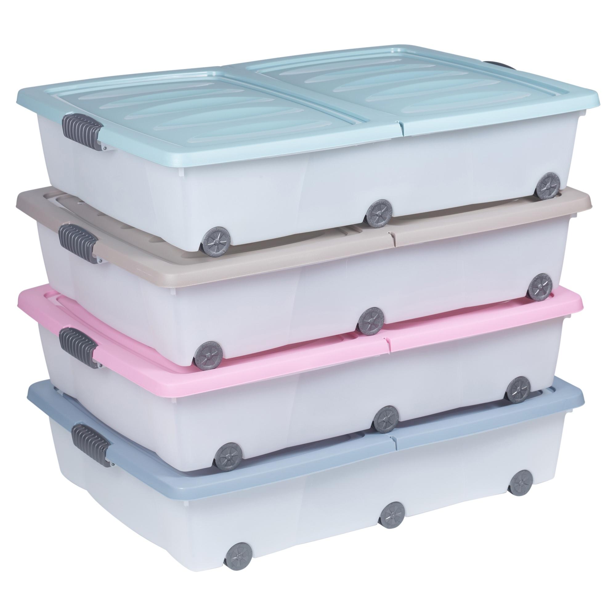2x Large Coloured 70l Under Bed Storage Plastic Box Chest