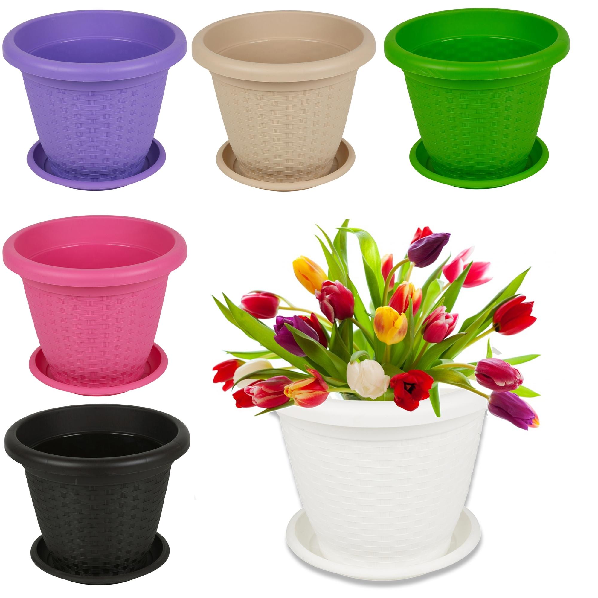 rattan plant pot flower coloured stackable saucer patio decor planter garden set ebay. Black Bedroom Furniture Sets. Home Design Ideas