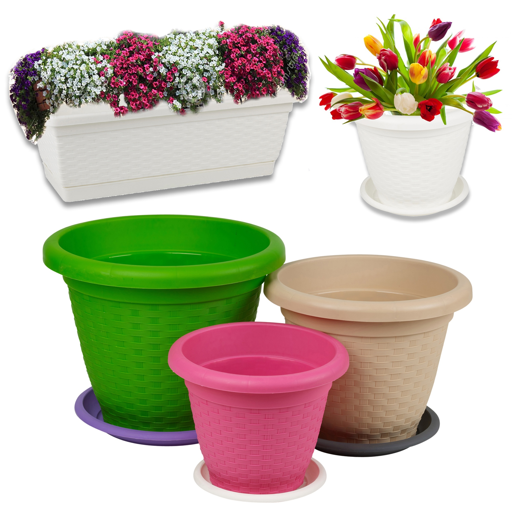 Rattan plant flower round rectangle stackable pot saucer herb planter coloured - Indoor plant pots with saucers ...