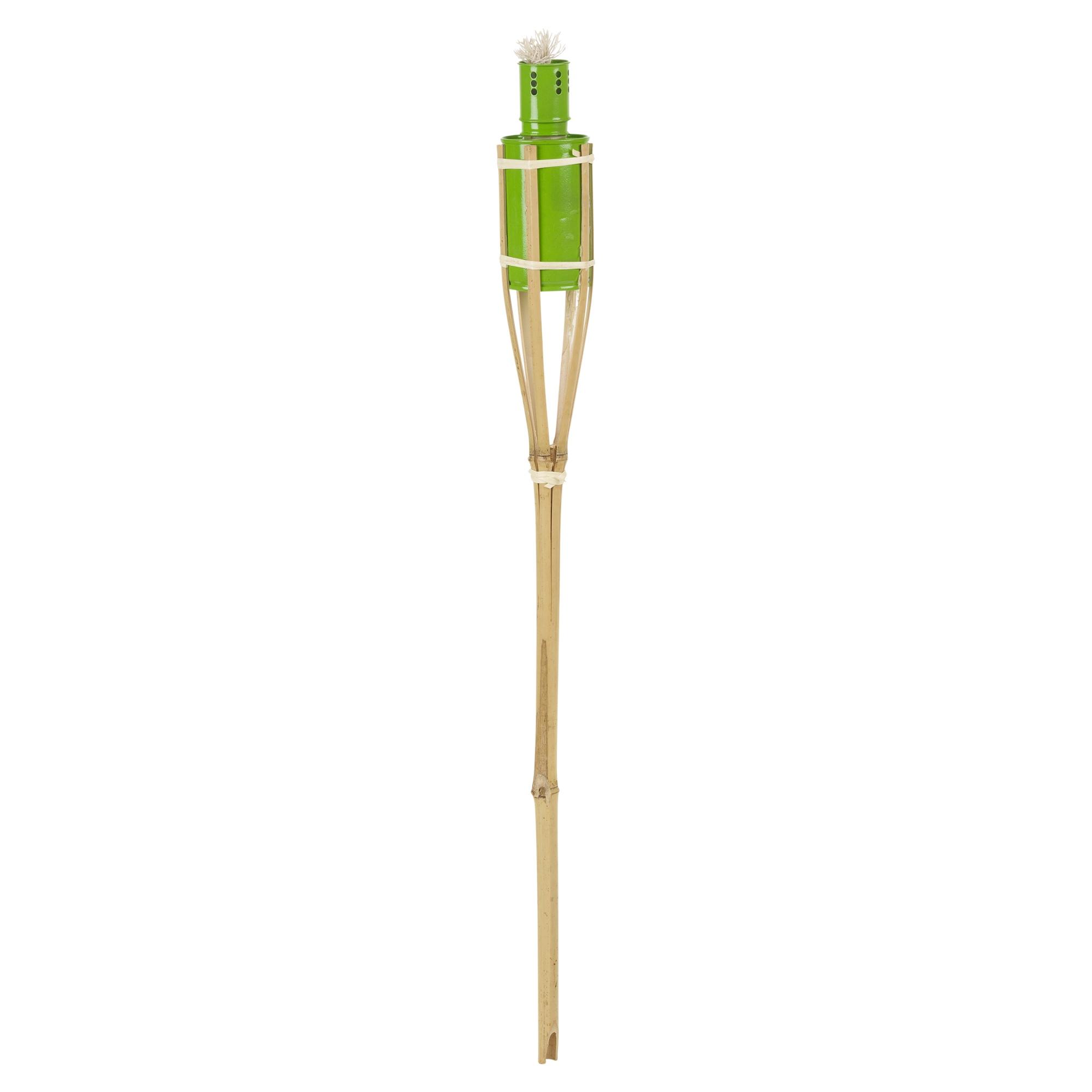 6x 2ft bamboo torch lantern garden oil paraffin outdoor