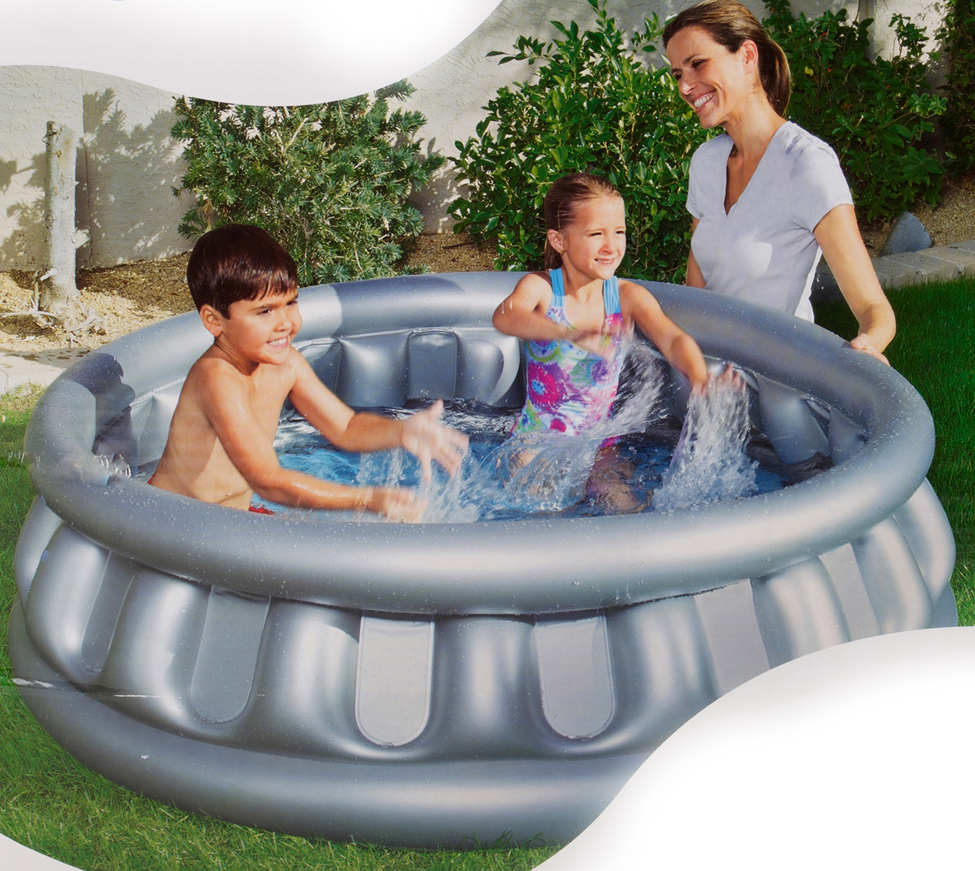 Bestway giant inflatable spaceship water swimming paddling for Deep swimming pools for garden