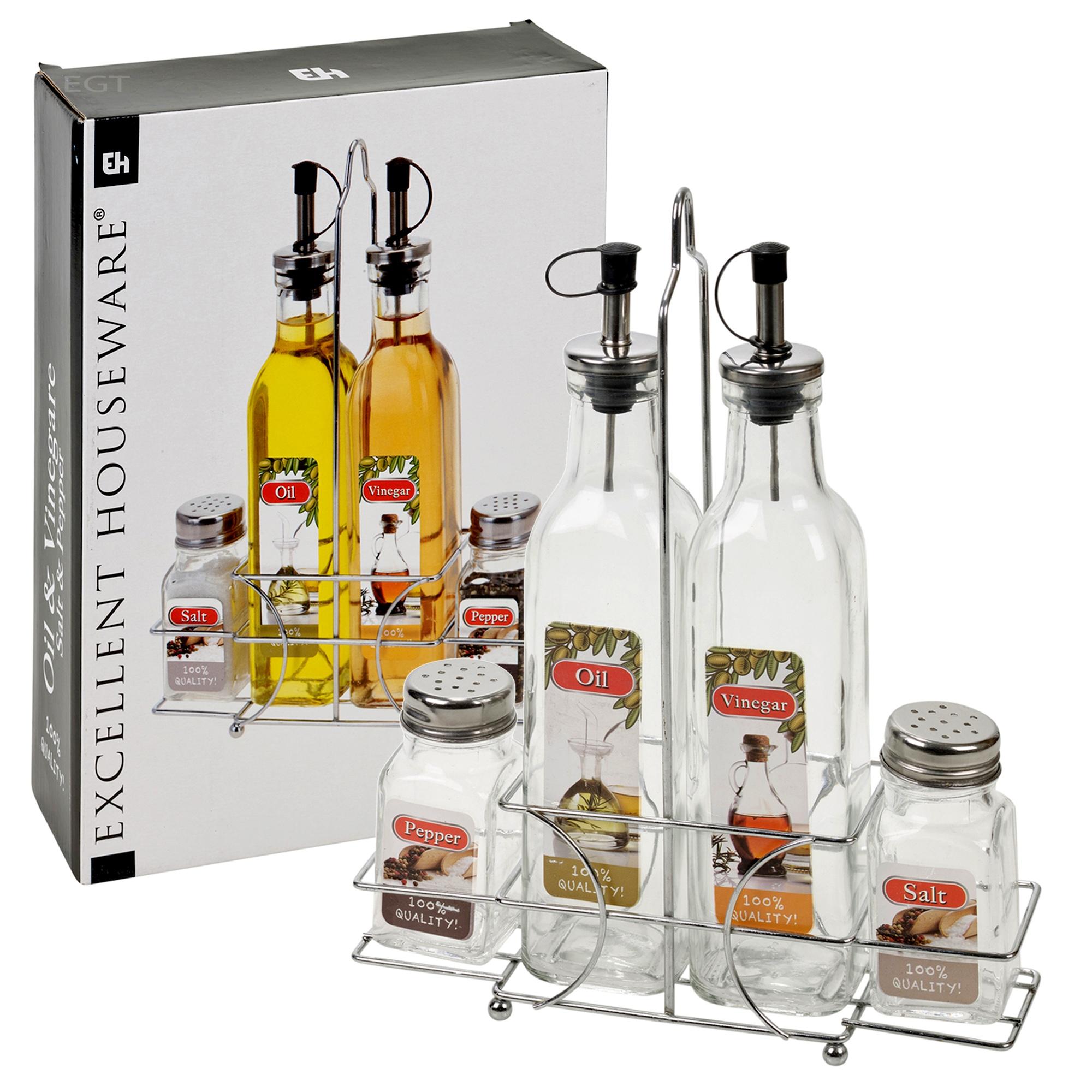 5 pcs home oil vinegar salt pepper glass bottle cruet dispenser rack holder ebay - Salt and pepper cruet set ...