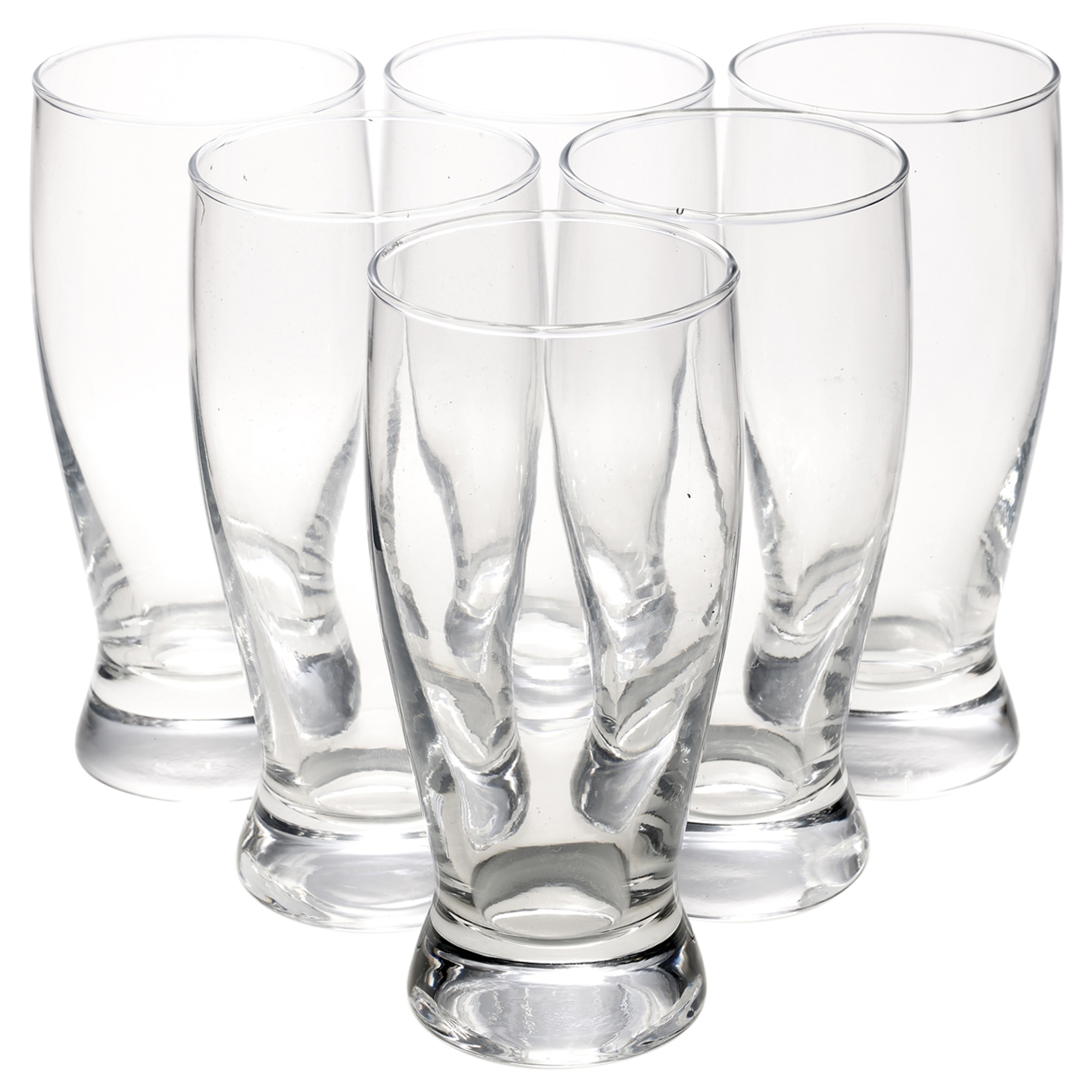6x 330ml Clear Beer Lager Beverage Drink Glasses Cups