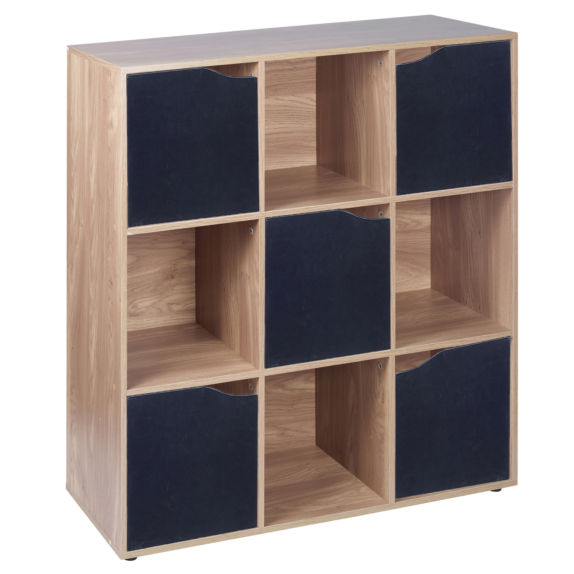 Cube oak wooden bookcase shelving display modular
