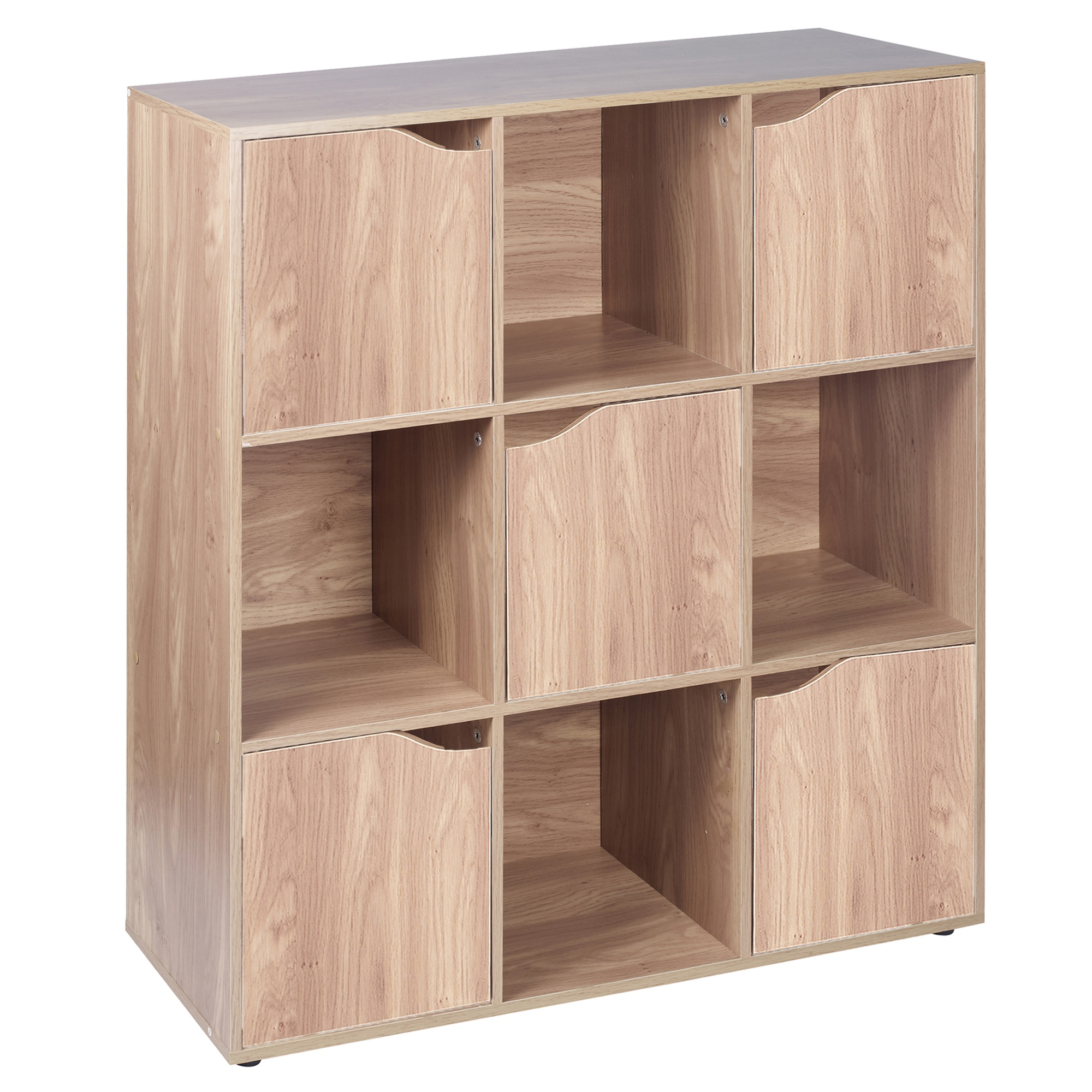 shelving unit with doors 9 cube oak wooden bookcase shelving display modular 26051