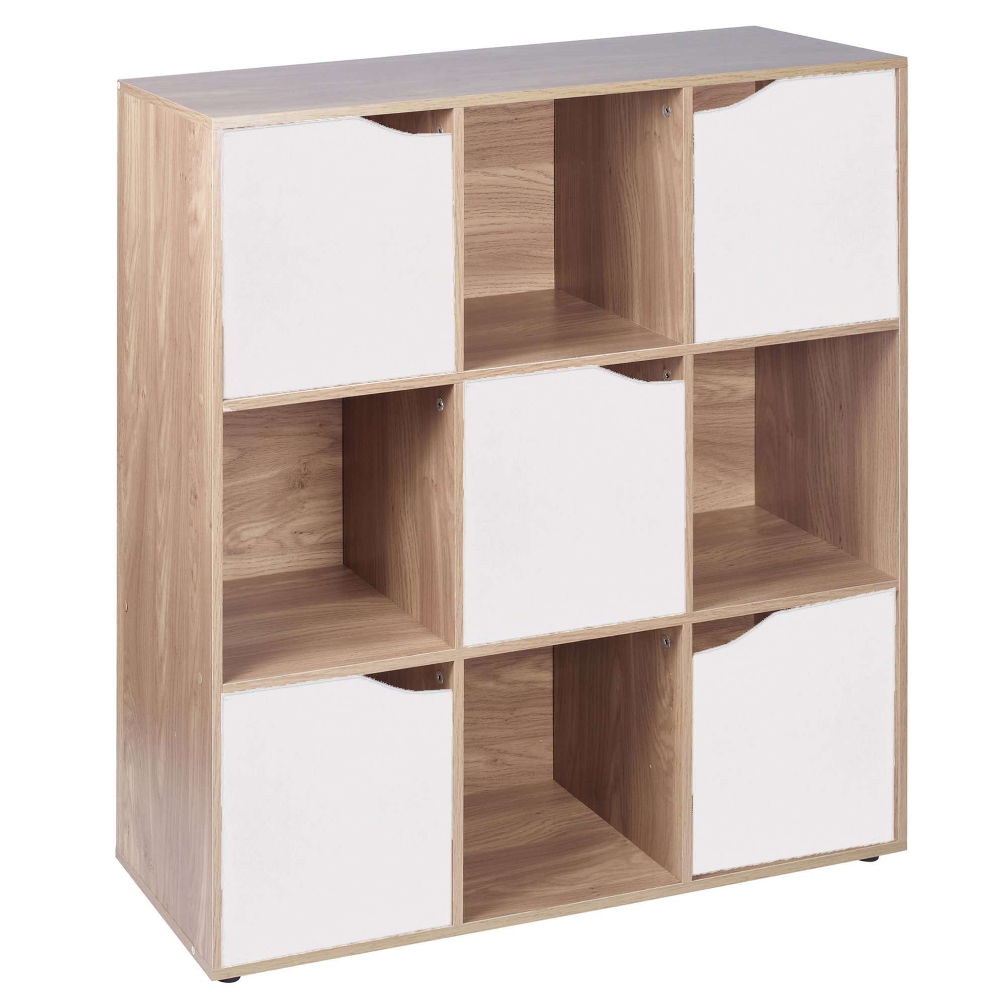 9 cube oak wooden bookcase shelving display modular. Black Bedroom Furniture Sets. Home Design Ideas