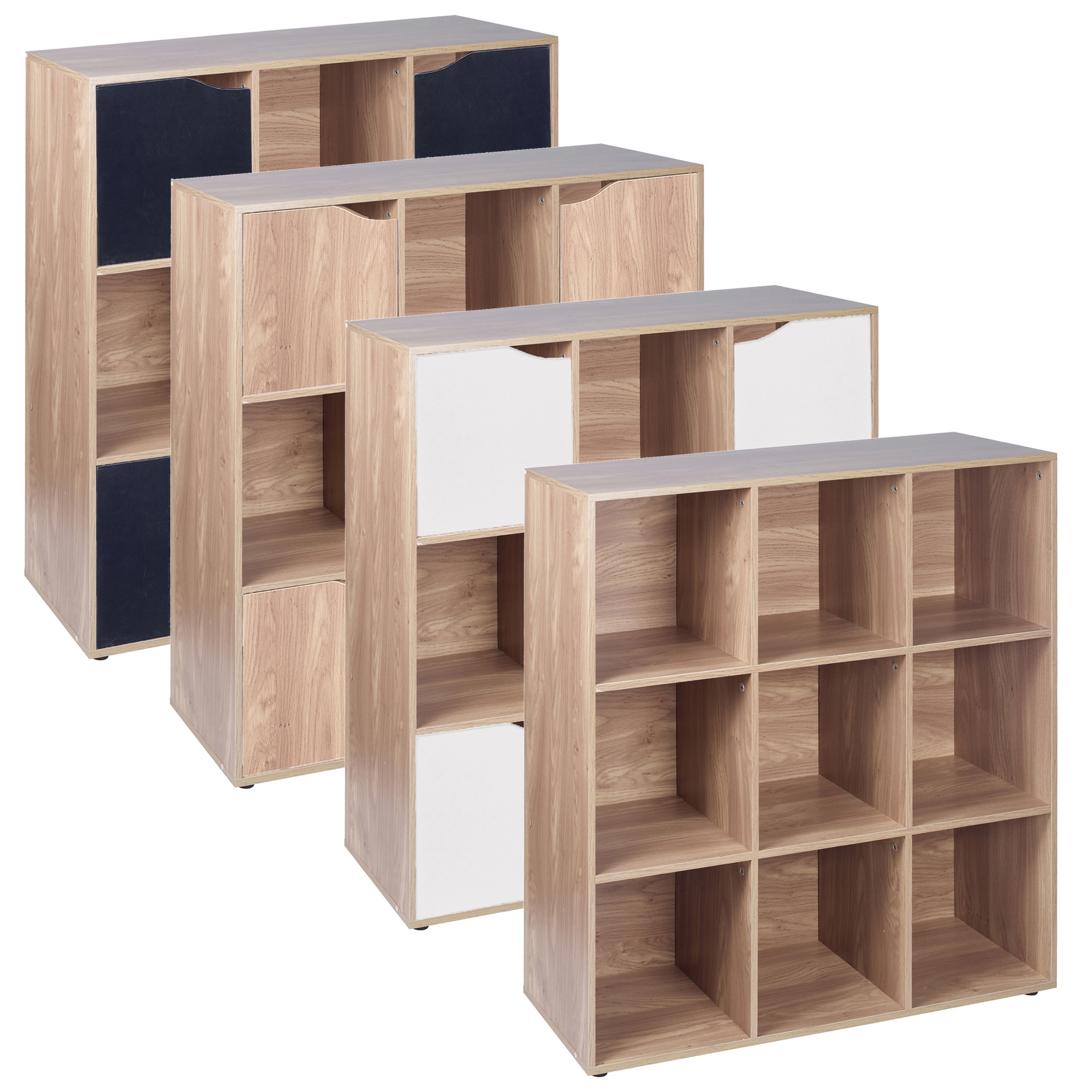 9 Cube Oak Wooden Bookcase Shelving Display Modular