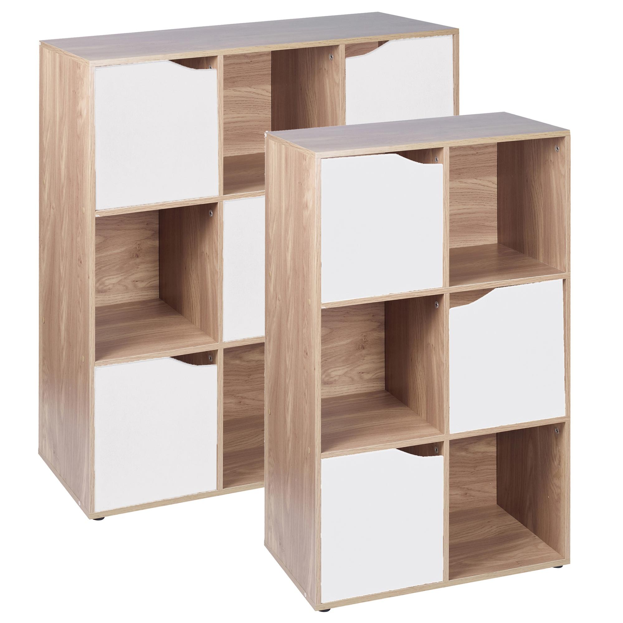 New Bookcase Toy Box White Finish Bedroom Playroom Child: 6,9 Cube Oak Modular Bookcase Shelving Display Shelf