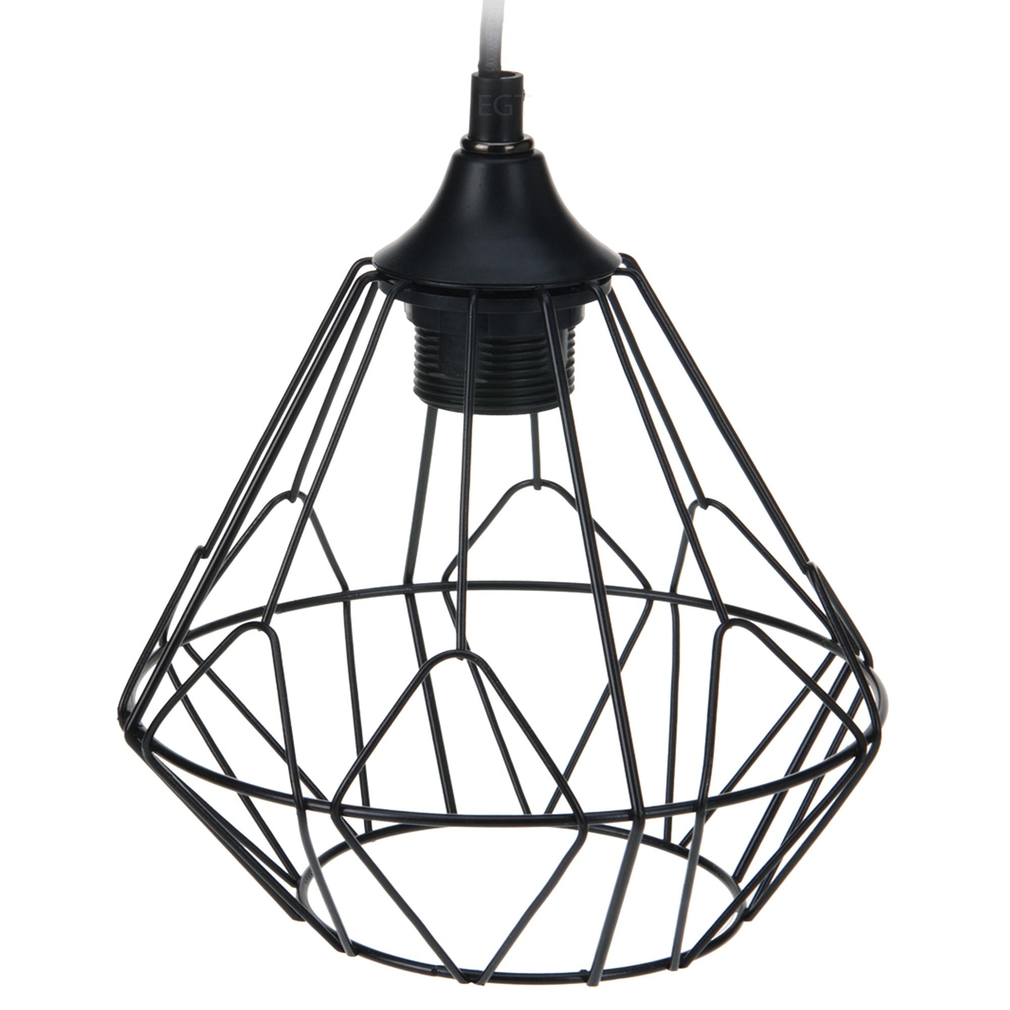 Modern Black Geometric Metal Wire Hanging Ceiling Light Pendant ...