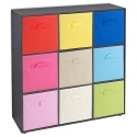 Wooden 9 Cubed Storage Units With Non Woven Drawers 27x27x27