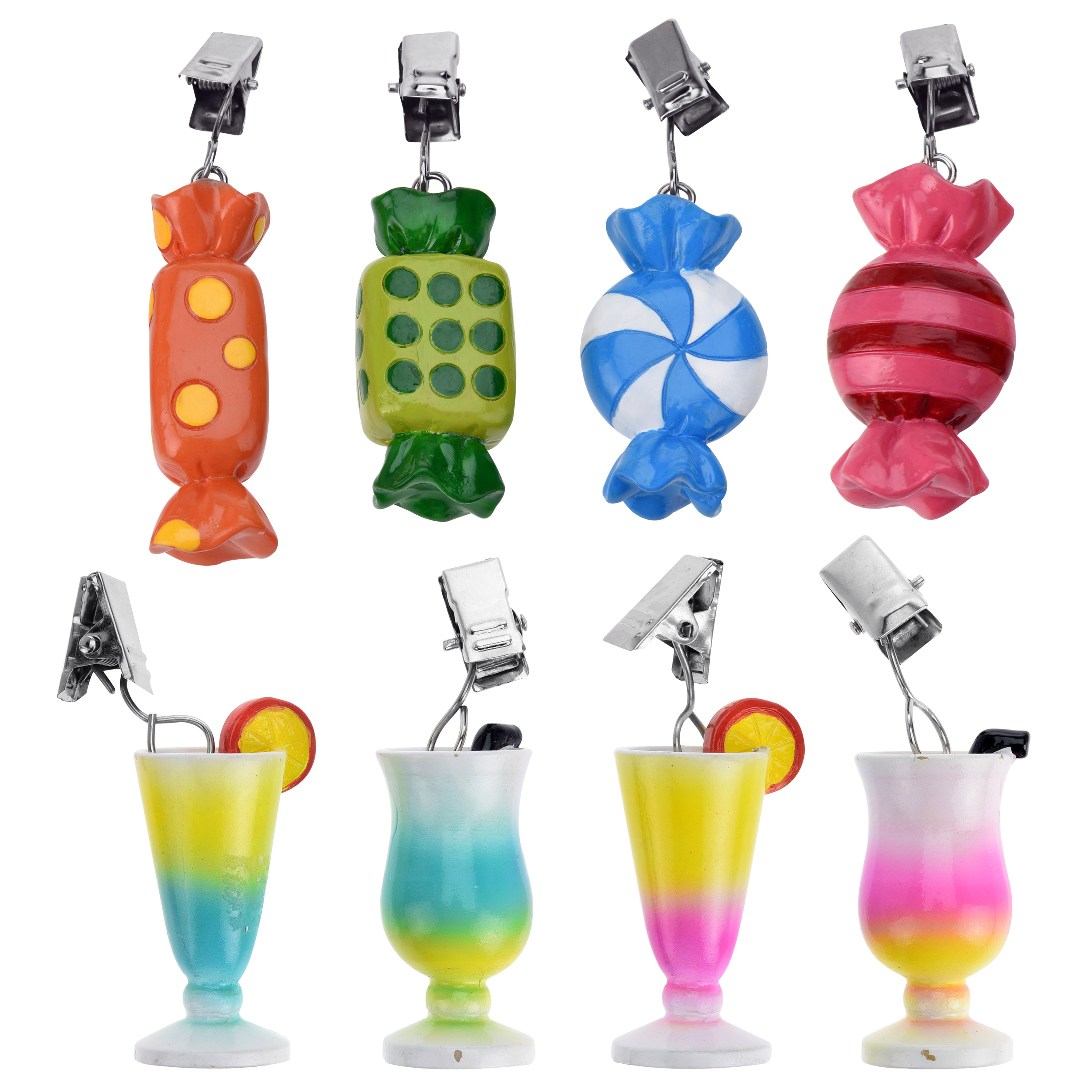4 Or 8 Wood Tablecloth Cocktail Glass Candy Clip On Weights Picnic BBQ Charms