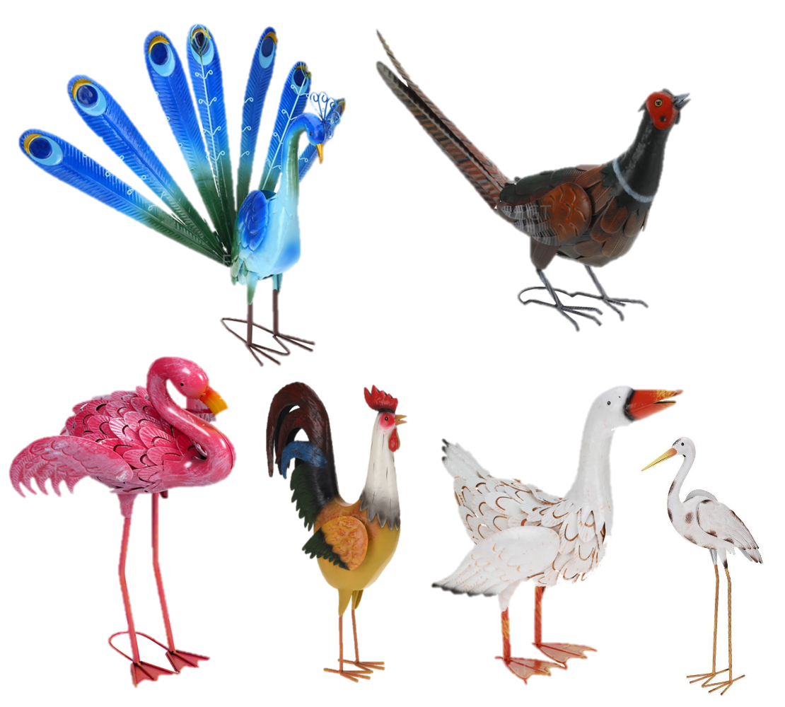 Decorative birds outdoor garden weather resistant metal for Artificial birds for decoration
