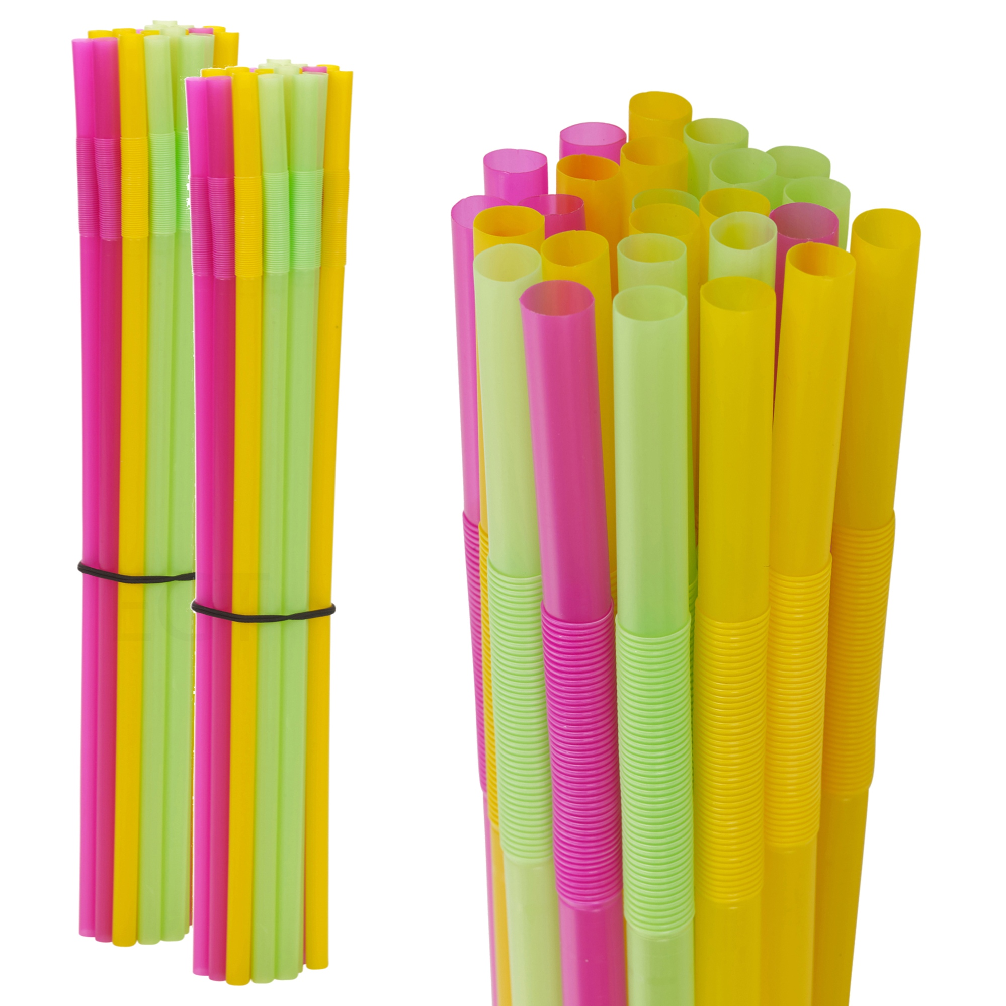 100Pcs Mix Color Large Wide Plastic Drinking Straws Jumbo Soda Straw Party 19cm