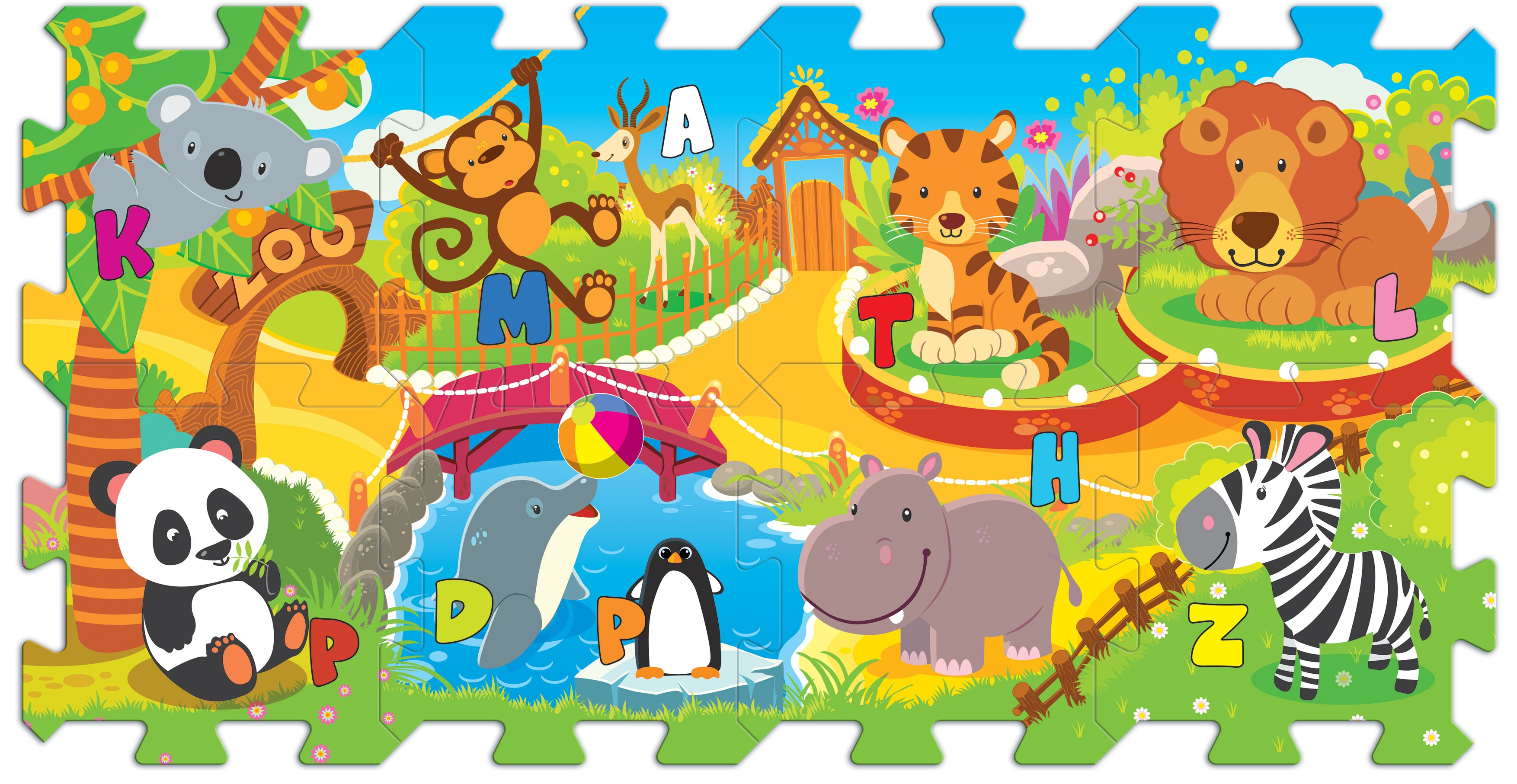 Trefl 8 Piece Baby Kids Infant Soft Foam Floor Mat Zoo Fun
