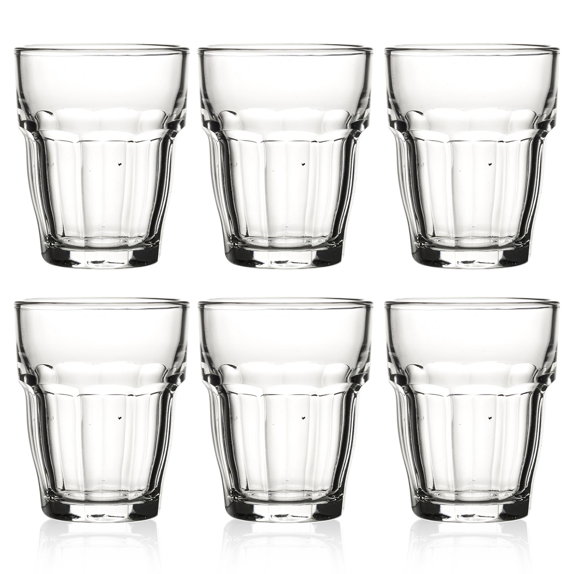 Bormioli Rocco Rock Bar Long Stackable Drink Glasses 12 oz Rose Pink Set of 8