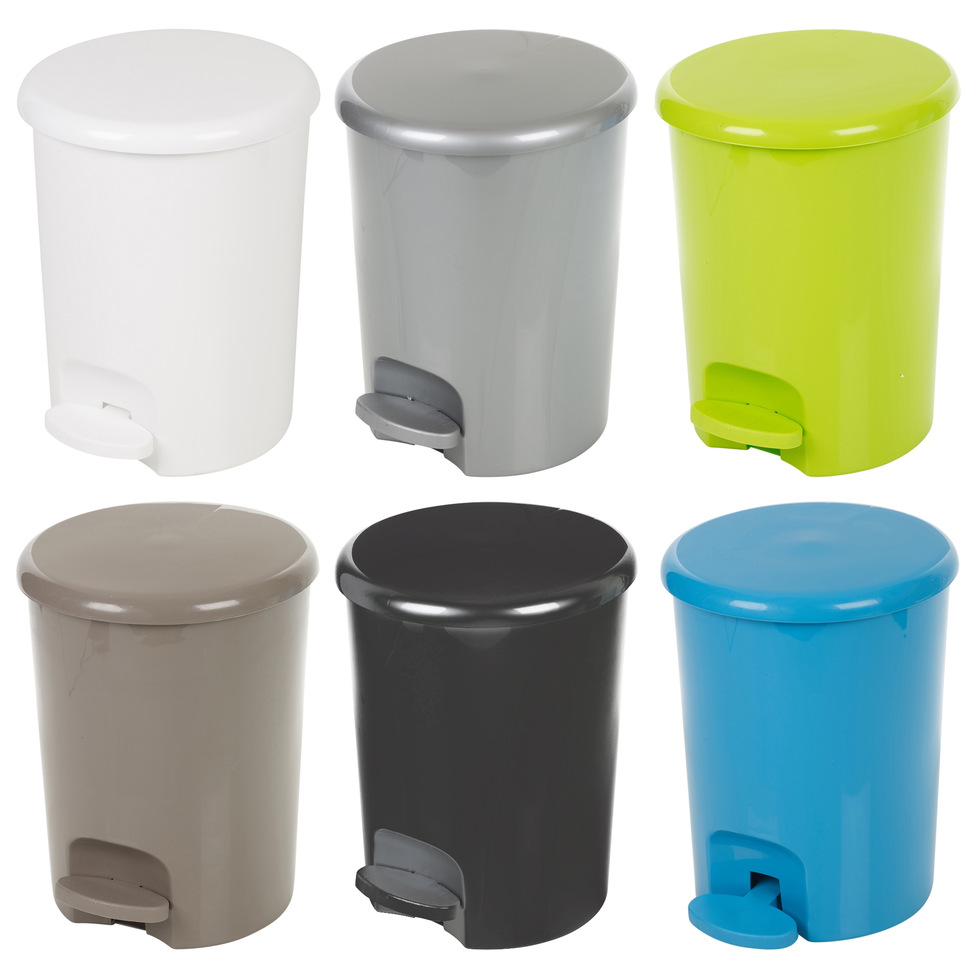 Plastic 5 litre pedal operated waste dustbin rubbish bin for Turquoise bathroom bin