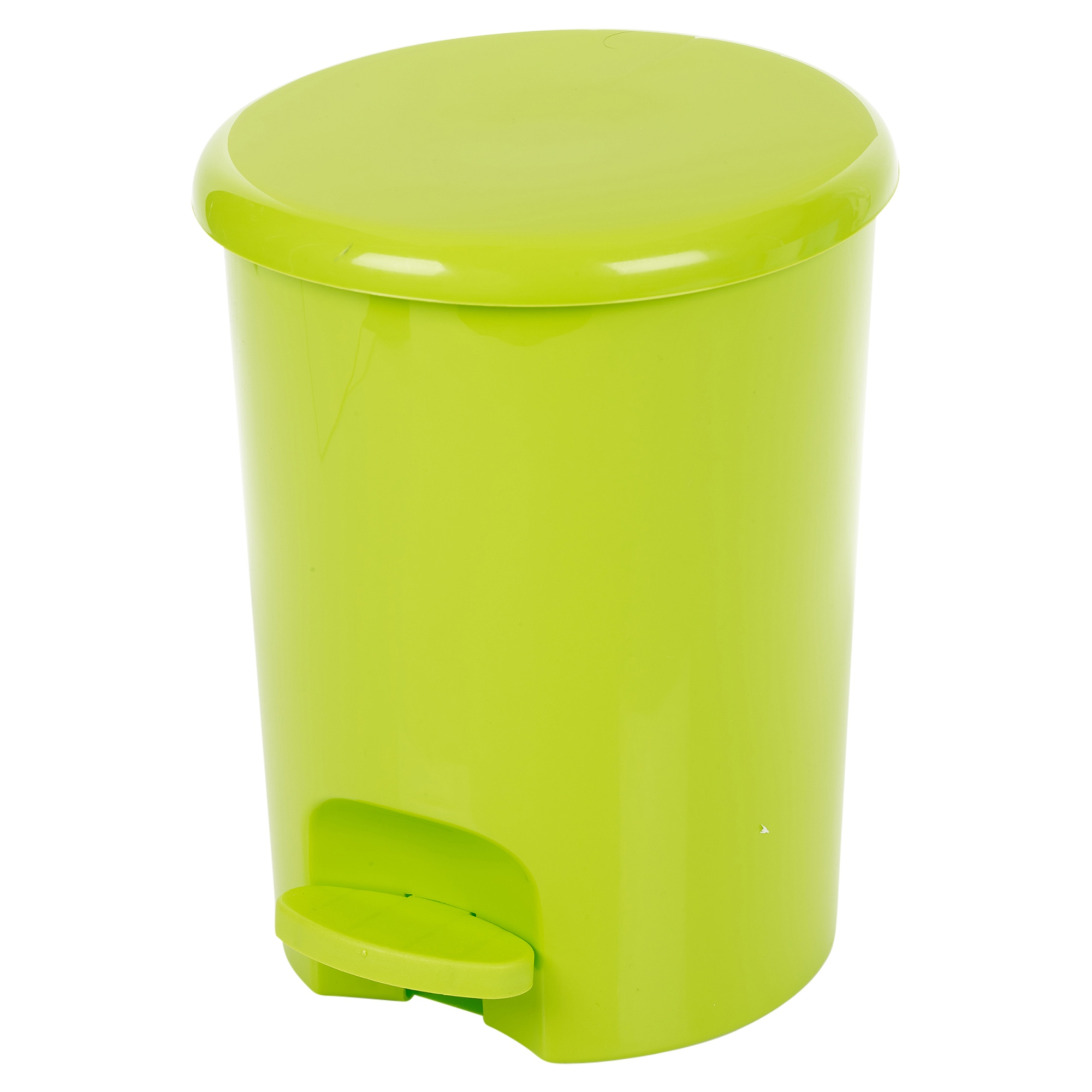 Green Kitchen Bin: Plastic 5 Litre Pedal Operated Waste Dustbin Rubbish Bin