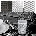 PEVA Non-Woven Black & White Circle Tablecloth [810183]