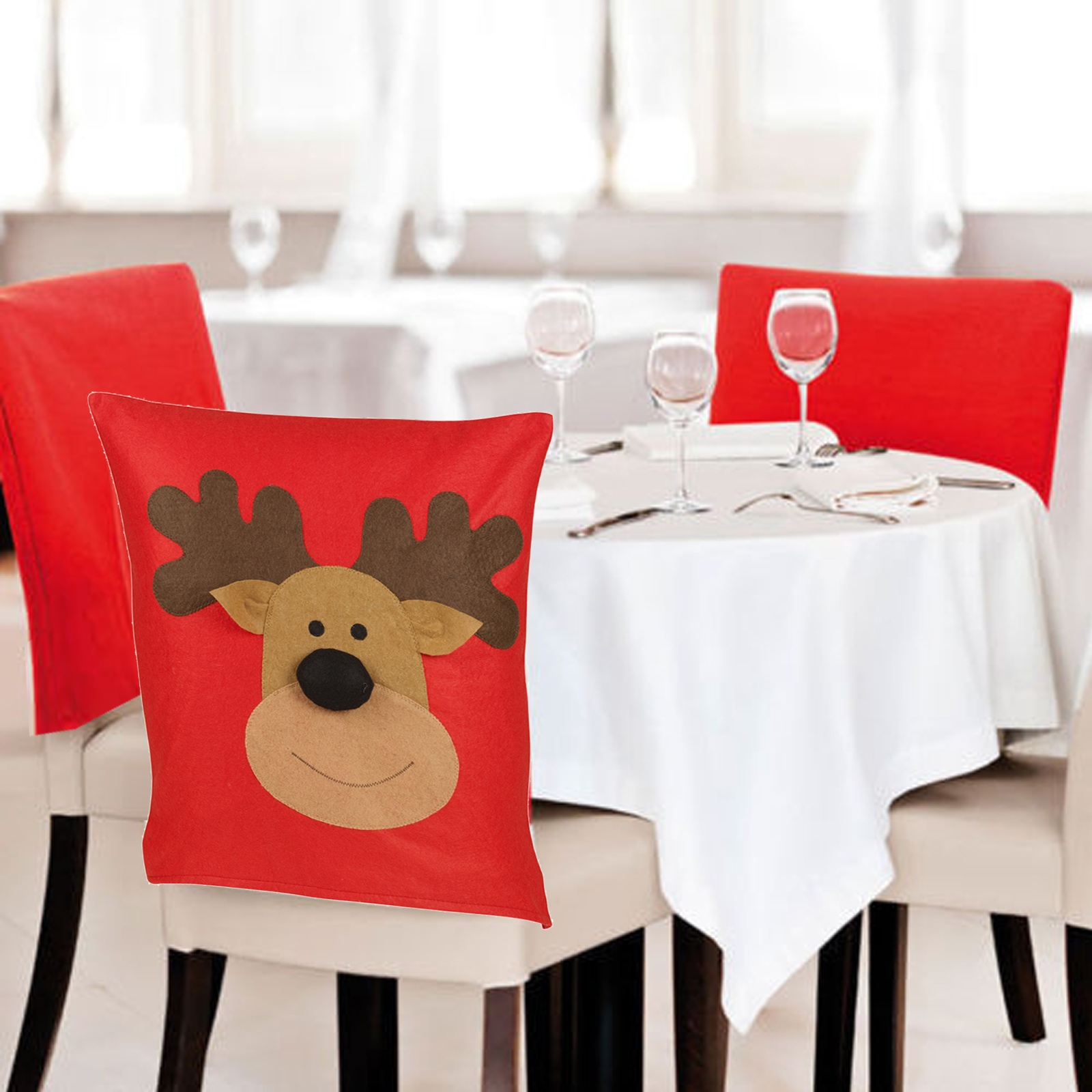 4 6 Christmas Reindeer Dining Chair Back Party Covers Xmas