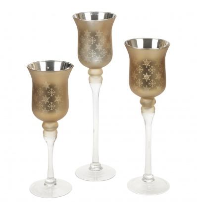 3pc Glass Hurricane Snowflake Candle Holder Set