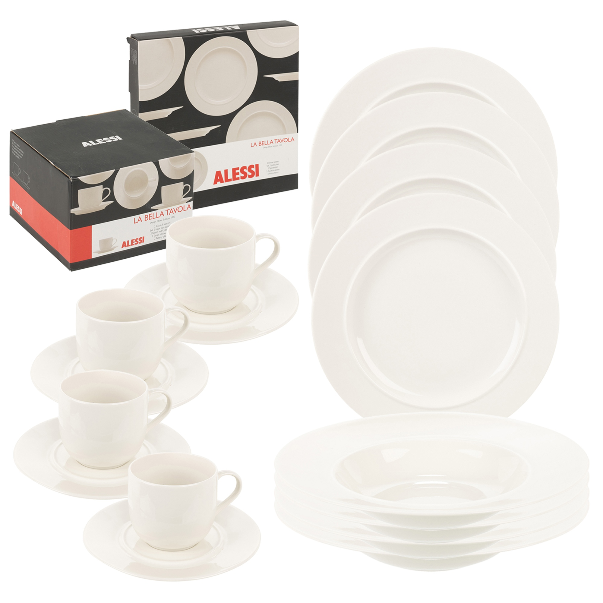 China Crockery Designer White Ceramic Cups  sc 1 st  eBay & ALESSI La Bella Dinner Service Porcelain Tableware Dining Plate Bowl ...