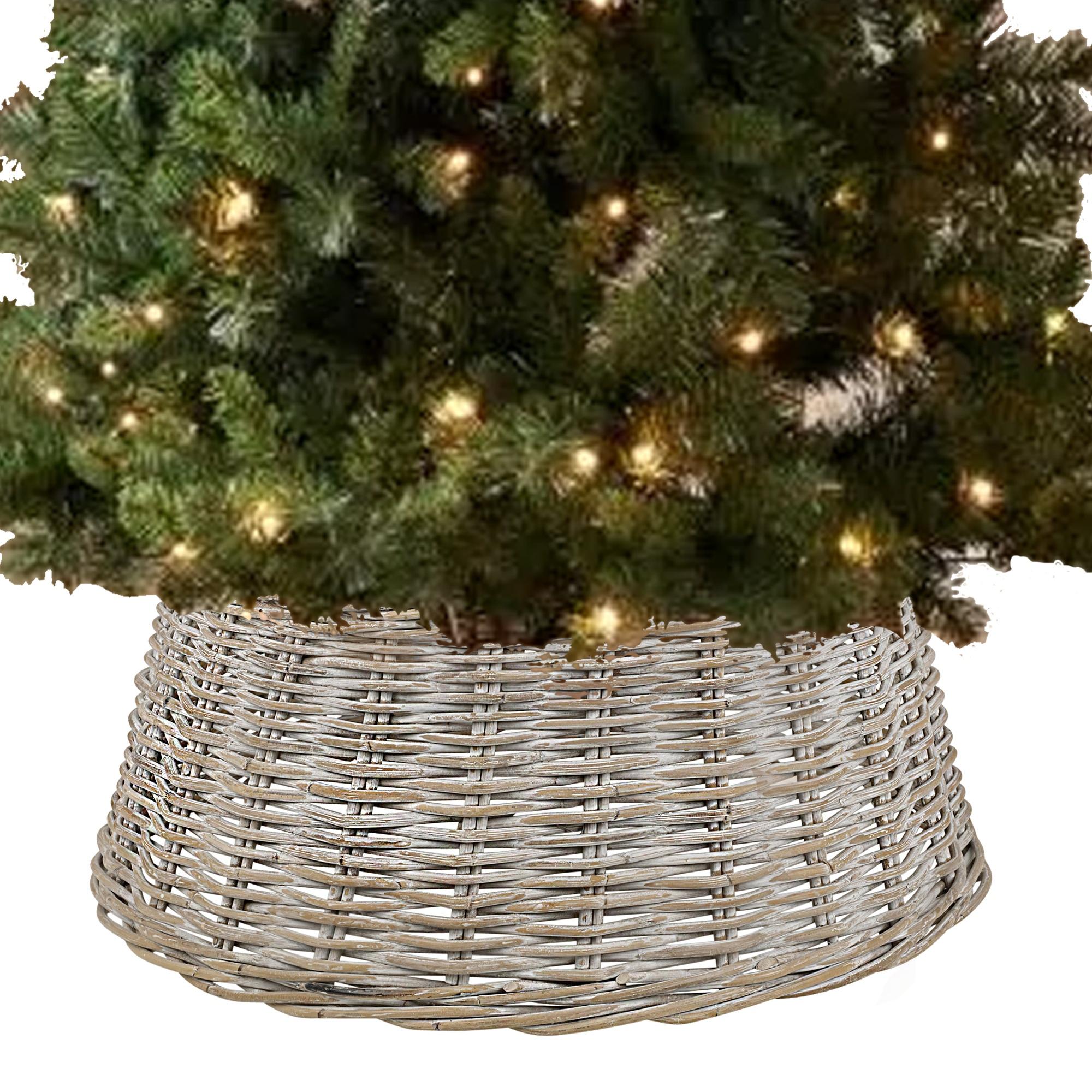 Large willow christmas tree skirt xmas rattan wicker