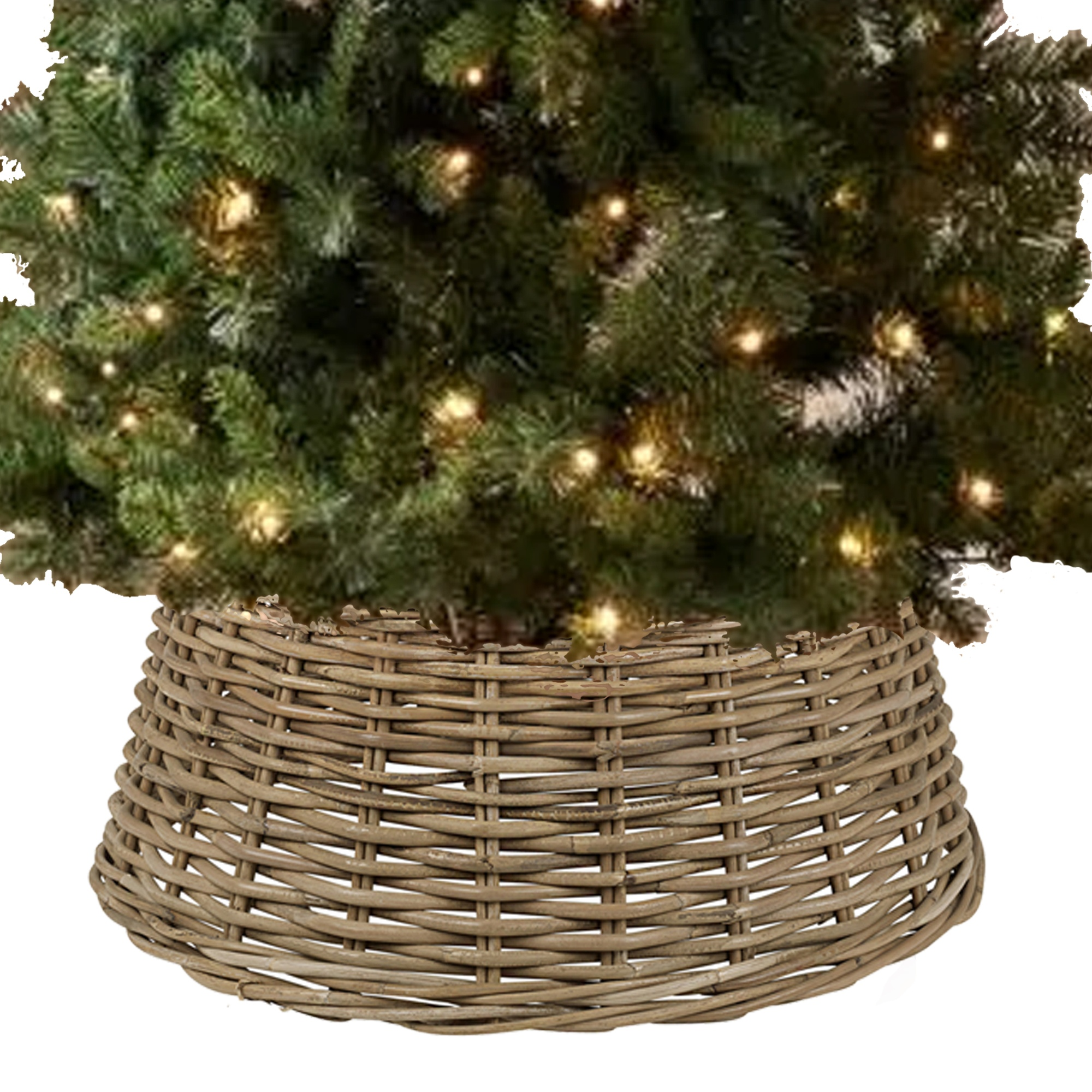 Large Willow Christmas Tree Skirt Xmas Rattan Wicker Natural Base