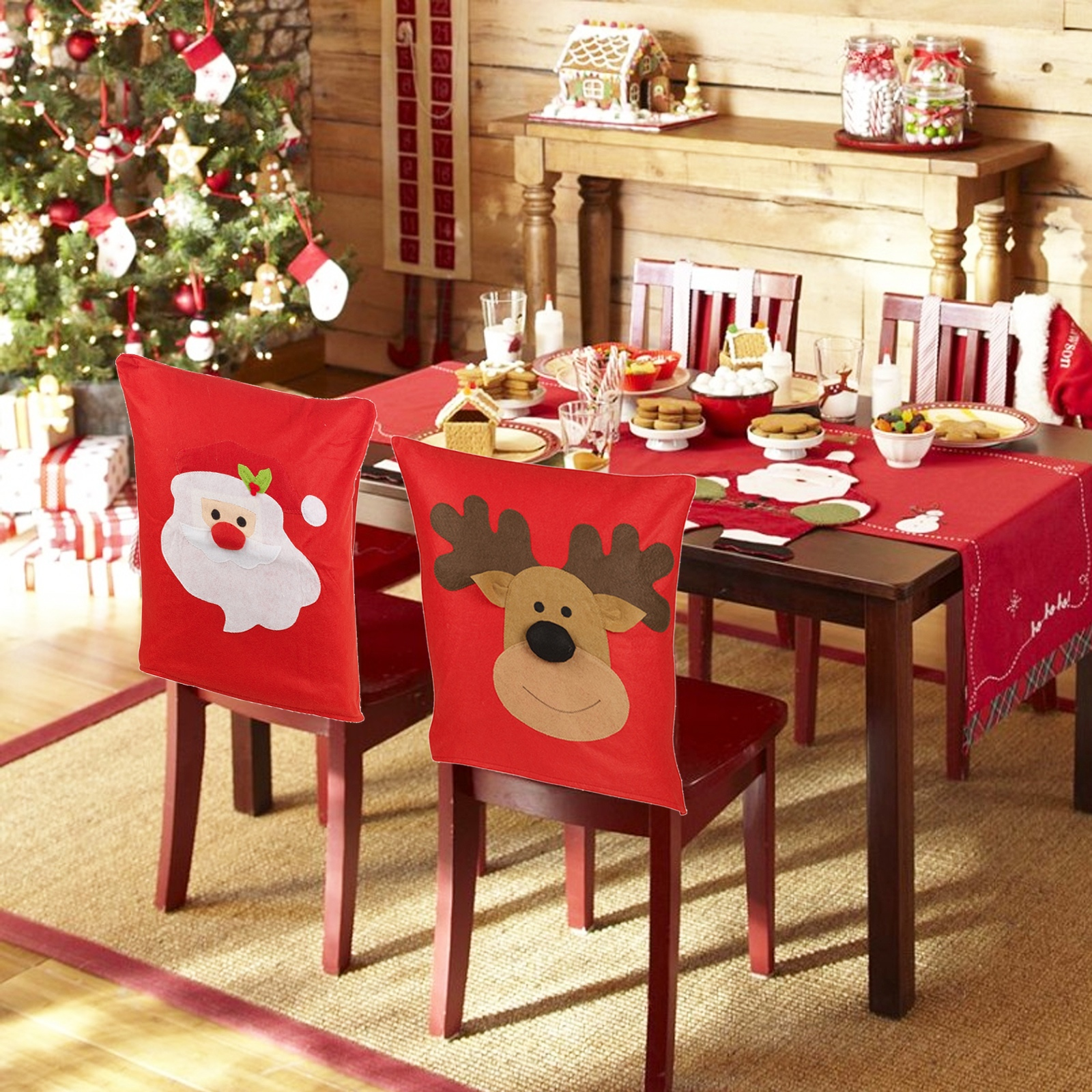 Chair Back Cover for Christmas Dinner Printed Seat Cover New Year Party Supplies
