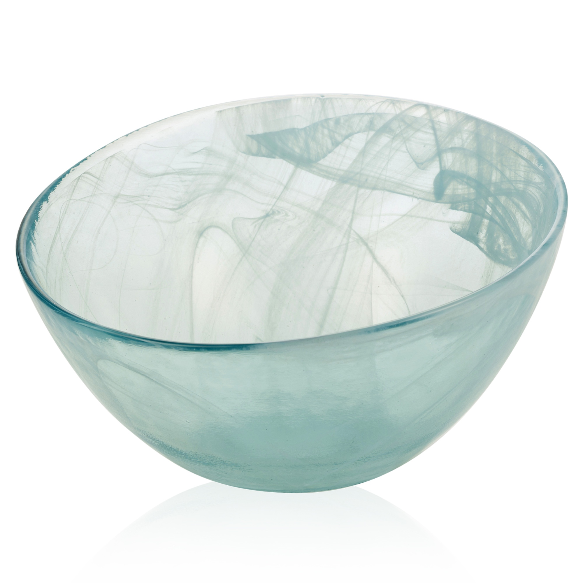 Large round blue tinted glass salad fruit bowl serving