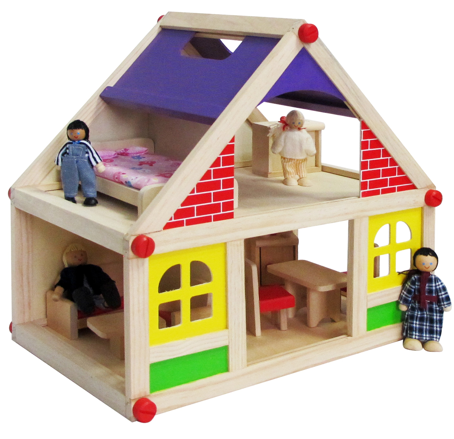 Children Kids 13pc Wooden Doll House Toy Furniture Figurines Educational Gift Ebay