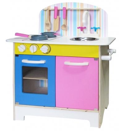 Pink & Blue Wooden 25pc Kitchen Set Inc Accessories [253155]
