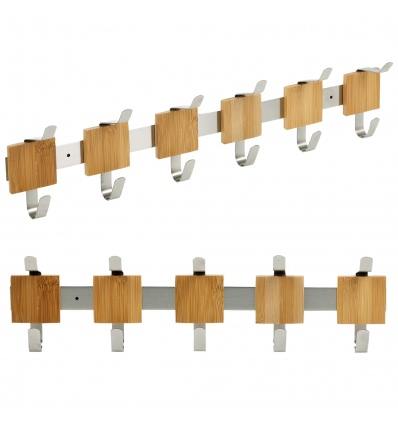 Stainless Steel & Bamboo Wall Mounted Hanger Hooks