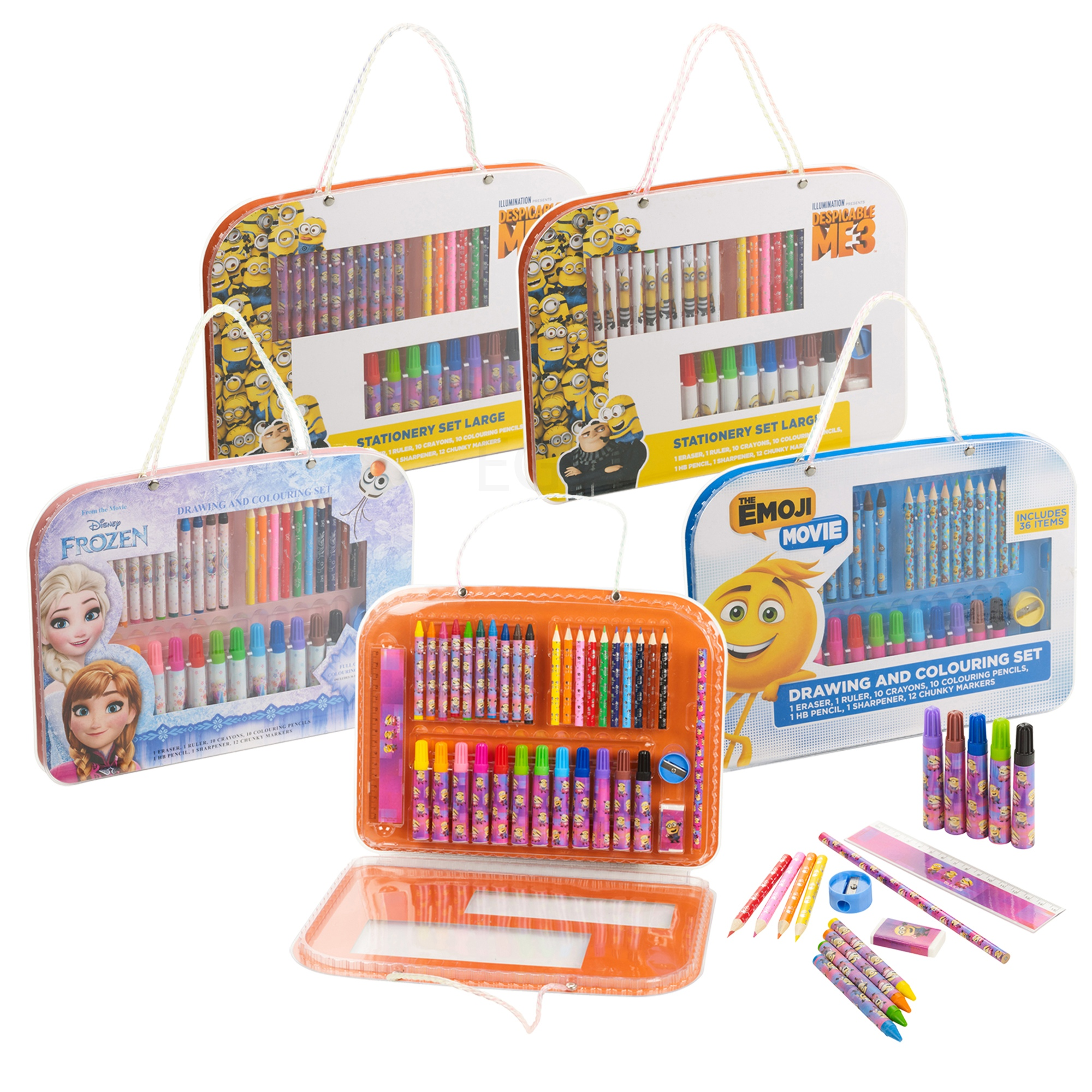 Details about Disney Kids 37pc Art Set Travel Case Drawing Pencil Marker  Crayon Coloring Ruler