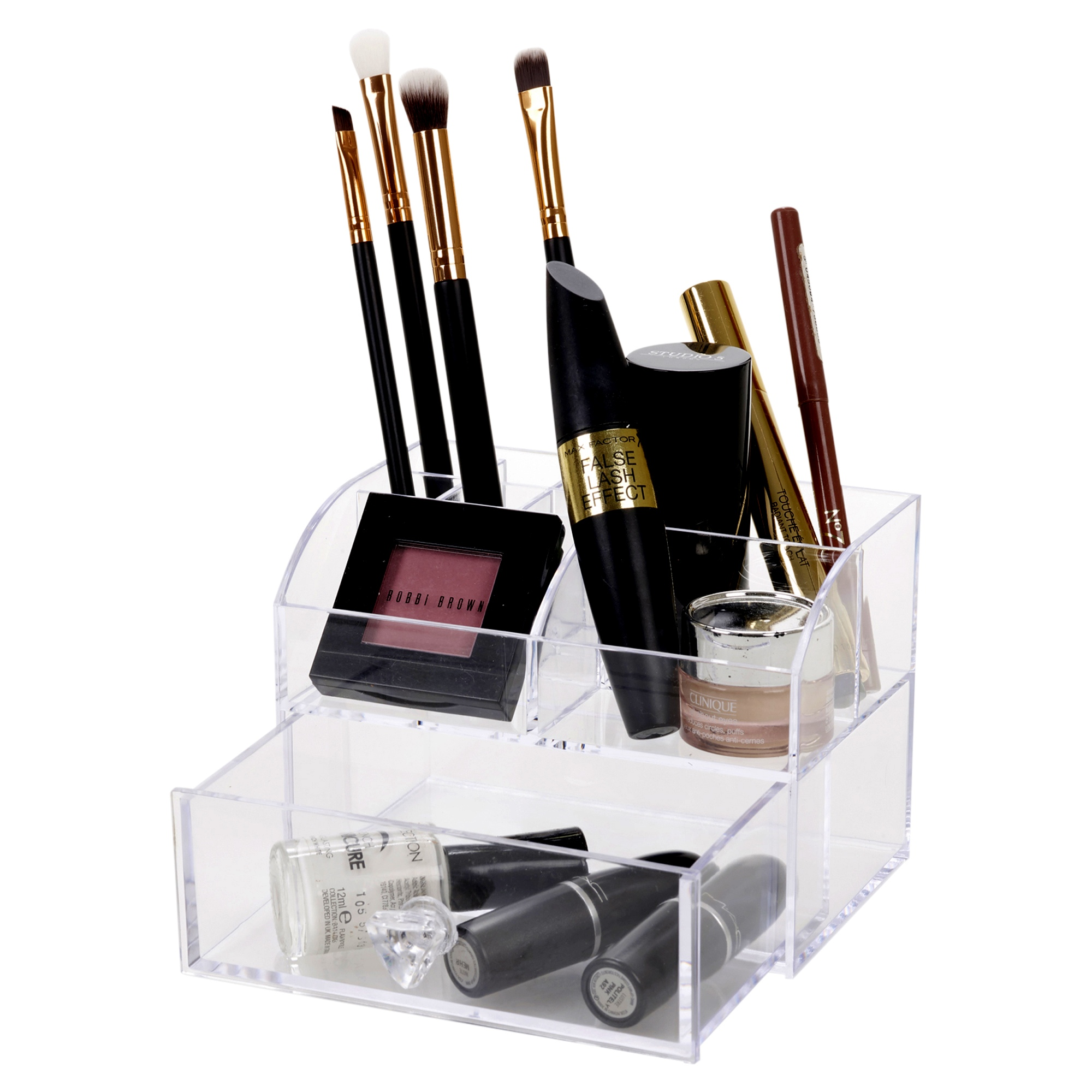 10 Compartment Clear Acrylic Makeup Holder Cosmetic