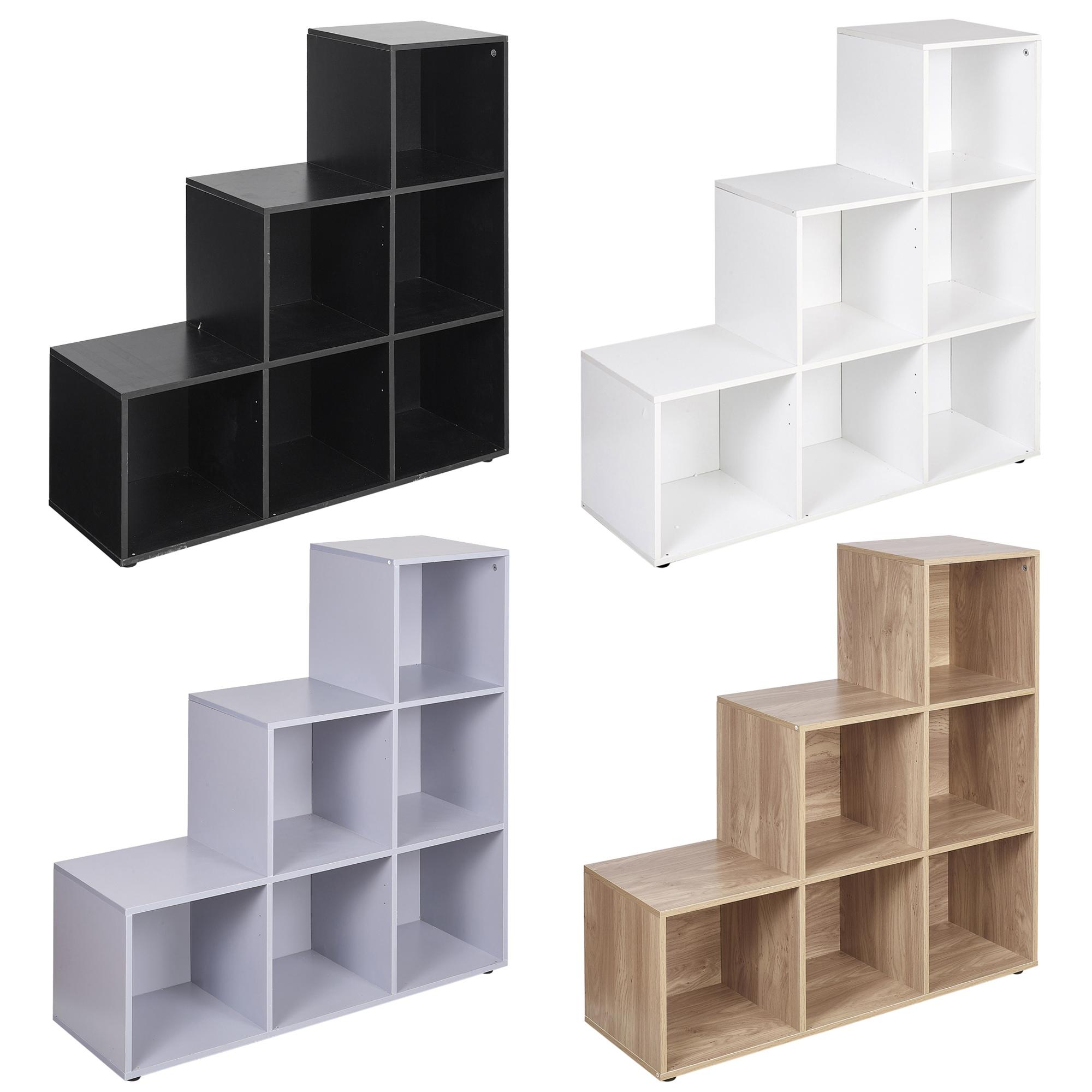 6 Cube Step Storage Bookcase Unit Shelf Home Office Organiser Display Box New Ebay