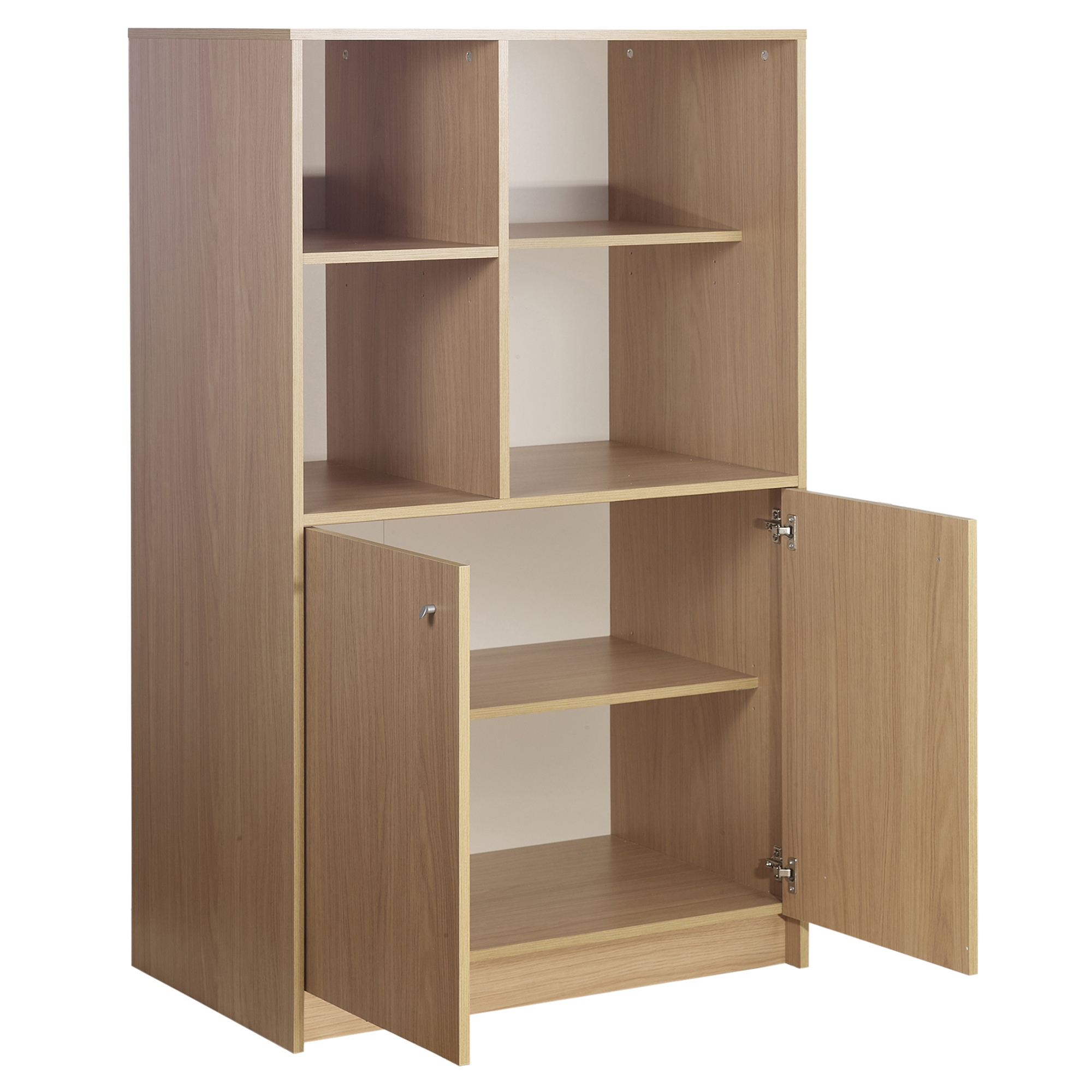 Calgary Hideaway Wooden 2 Door 4 Cube Cabinet Bookcase Storage