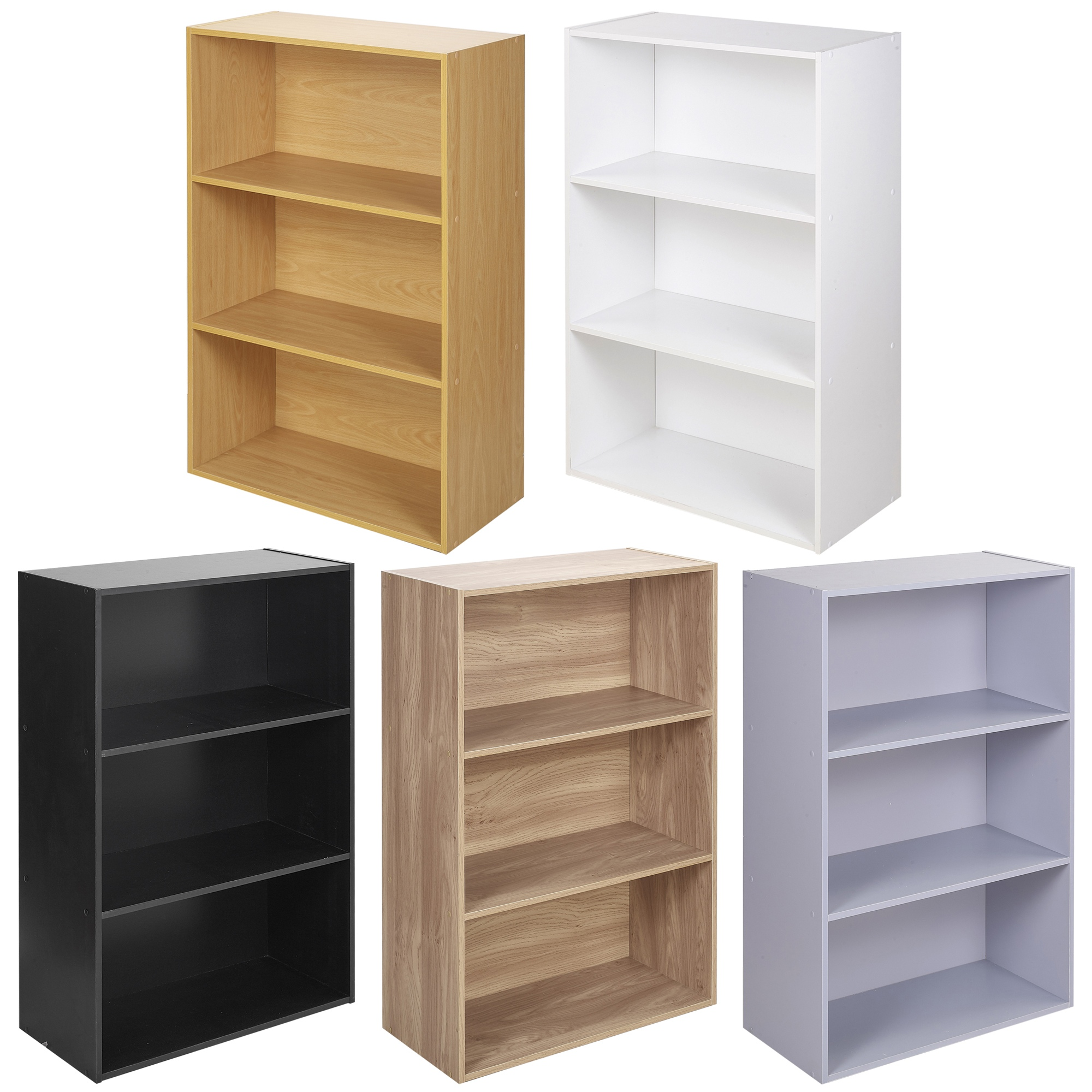 Details about Wide 3 Tier Book Shelf Deep Bookcase Storage Display Cabinet  Furniture Decor NEW