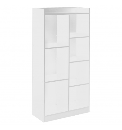 White Tall 7 Cube Bookcase [KD-068]