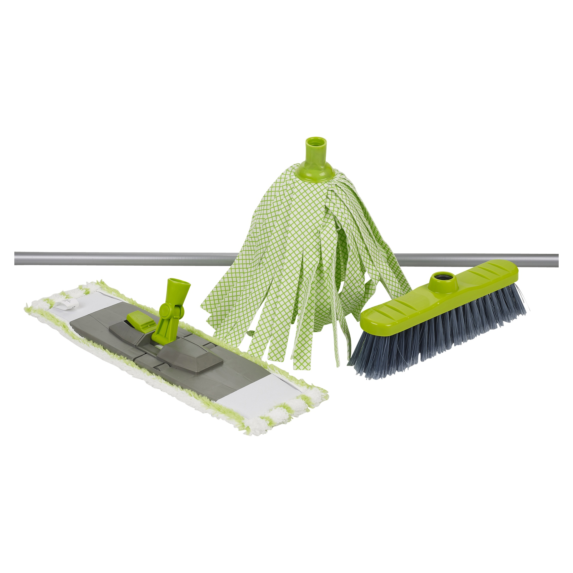 4 Piece Microfiber Cleaning Mop Handle Amp Broom Set Dirt