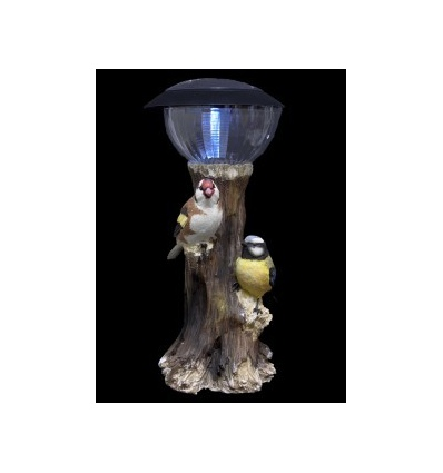 Solar LED Light And Orange/Grey White/Brown Birds 33cm [343679]