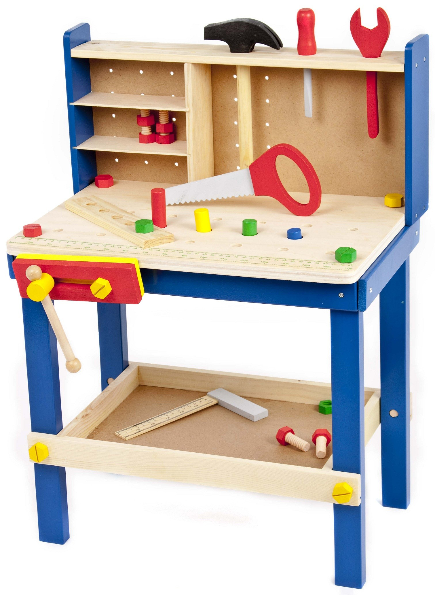 34 Piece Wooden Tool Work Bench Table Tools Children 39 S Kids Play Toy Xmas Gift Ebay