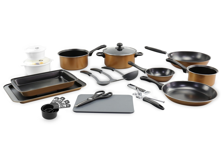 21pc kitchen student starter set copper pots pans cookware bakeware utensils ebay. Black Bedroom Furniture Sets. Home Design Ideas