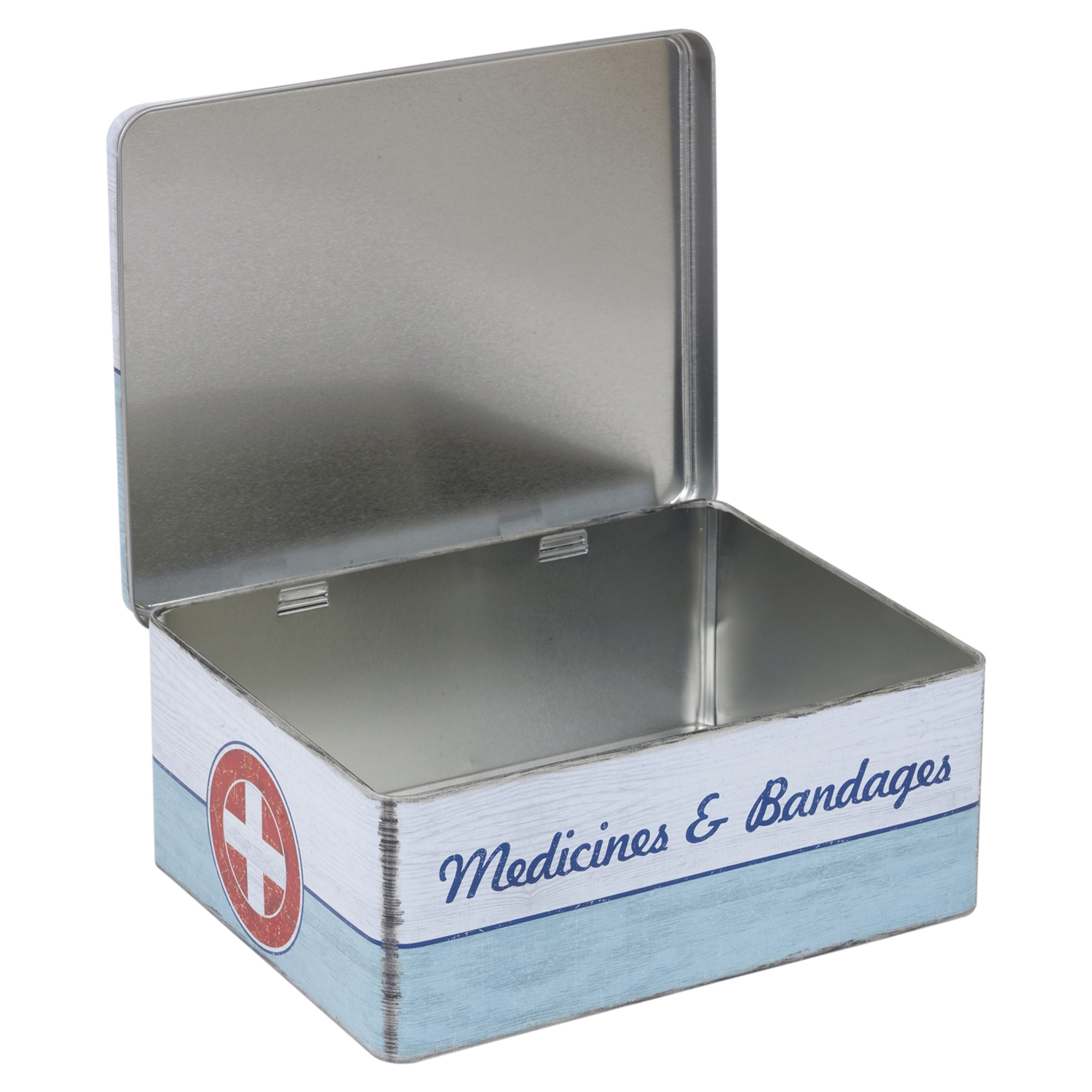 Retro First Aid Medicine Storage Hinged Lid Tin Box Case