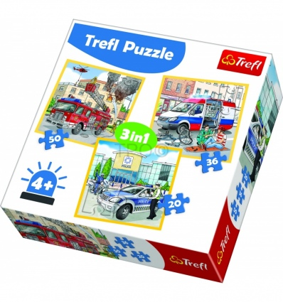 "Puzzles - ""3in1"" - Intervention vehicles and professions / Trefl [34836]"