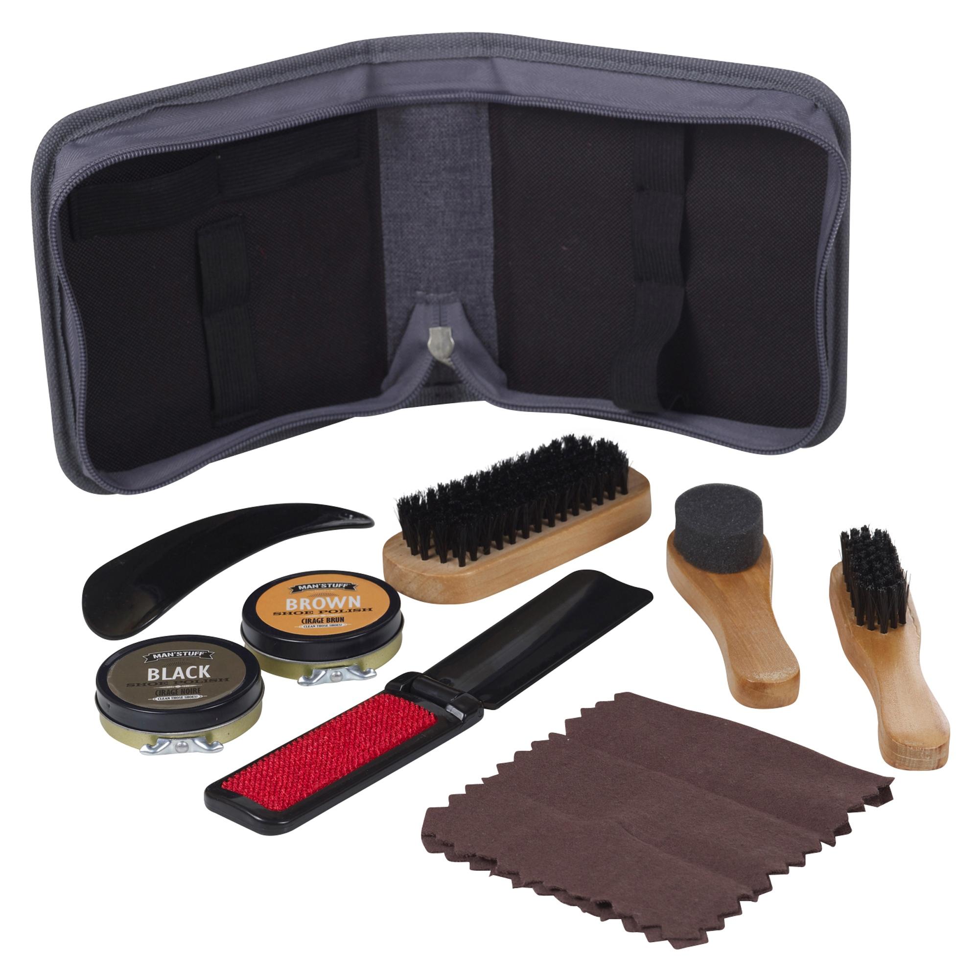Manstuff Shoe Shine Restore Kit Set Brushes Cloth Black Brown