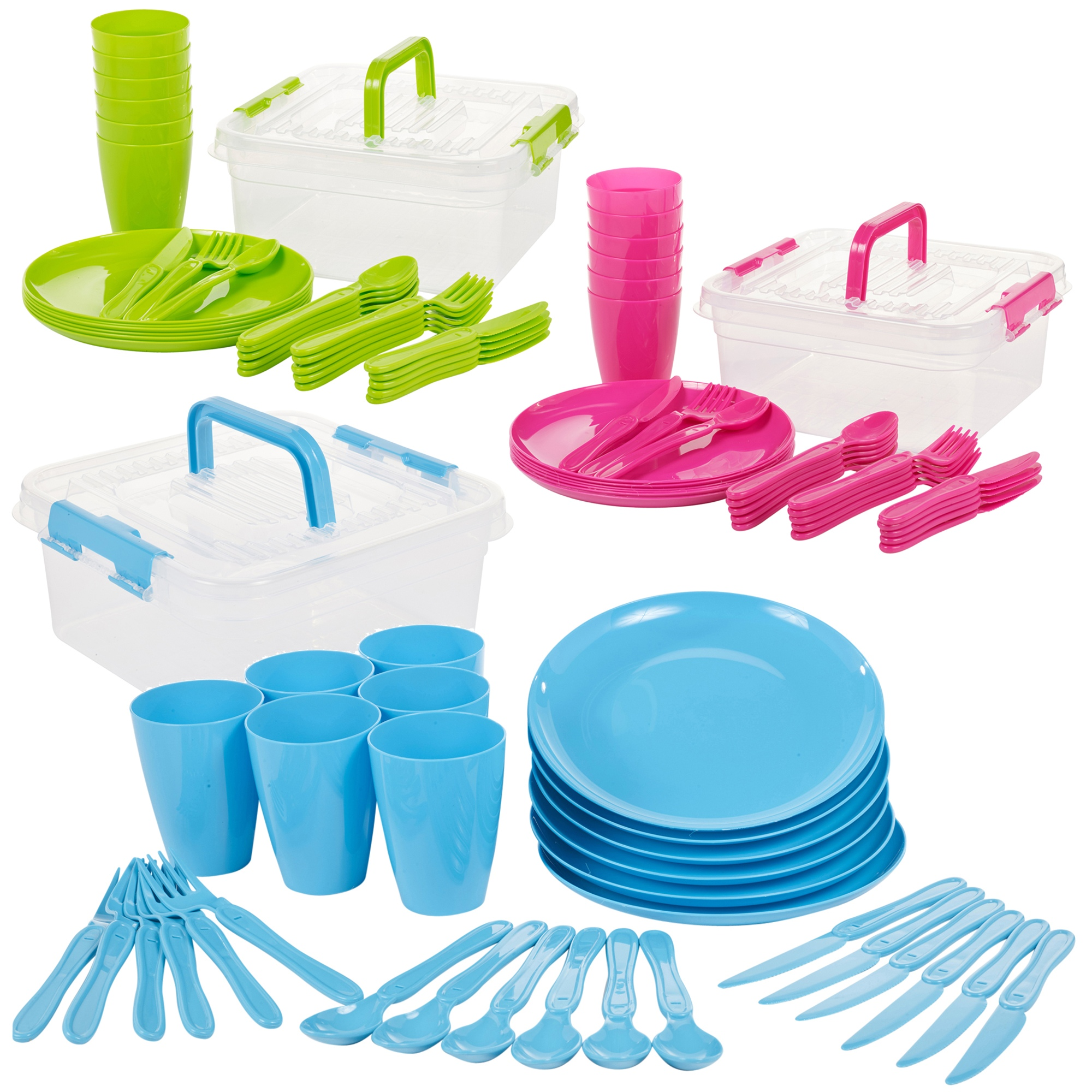 31 Piece Camping Picnic Plastic Utensil Set Knives Fork Spoon Cups /& Plates