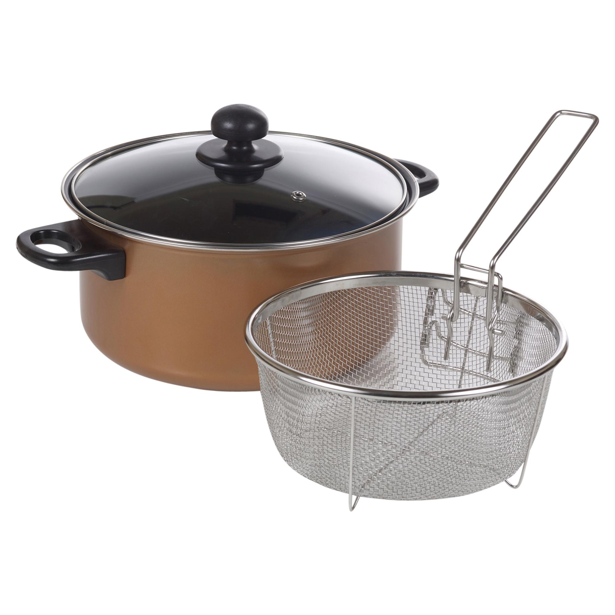 Stove Top Chip Pan Deep Fat Fryer Set Copper Look Frying