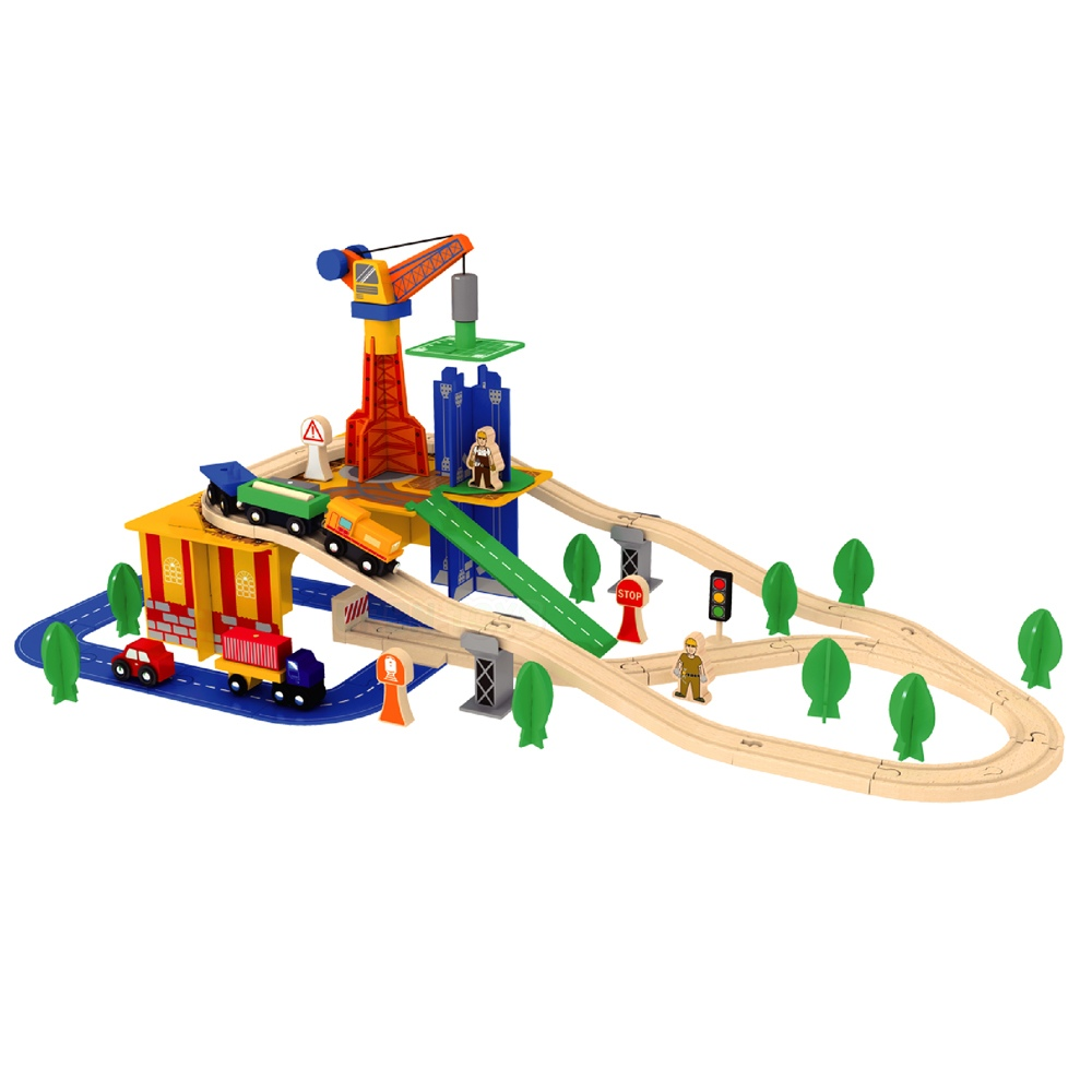 Details About Wooden 80 Pcs Busy Crane Train Set Railway Track Toy Brio Bigjigs Compatible