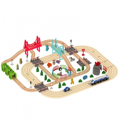 URBN-TOYS Wooden Railway Track Playset [390961]
